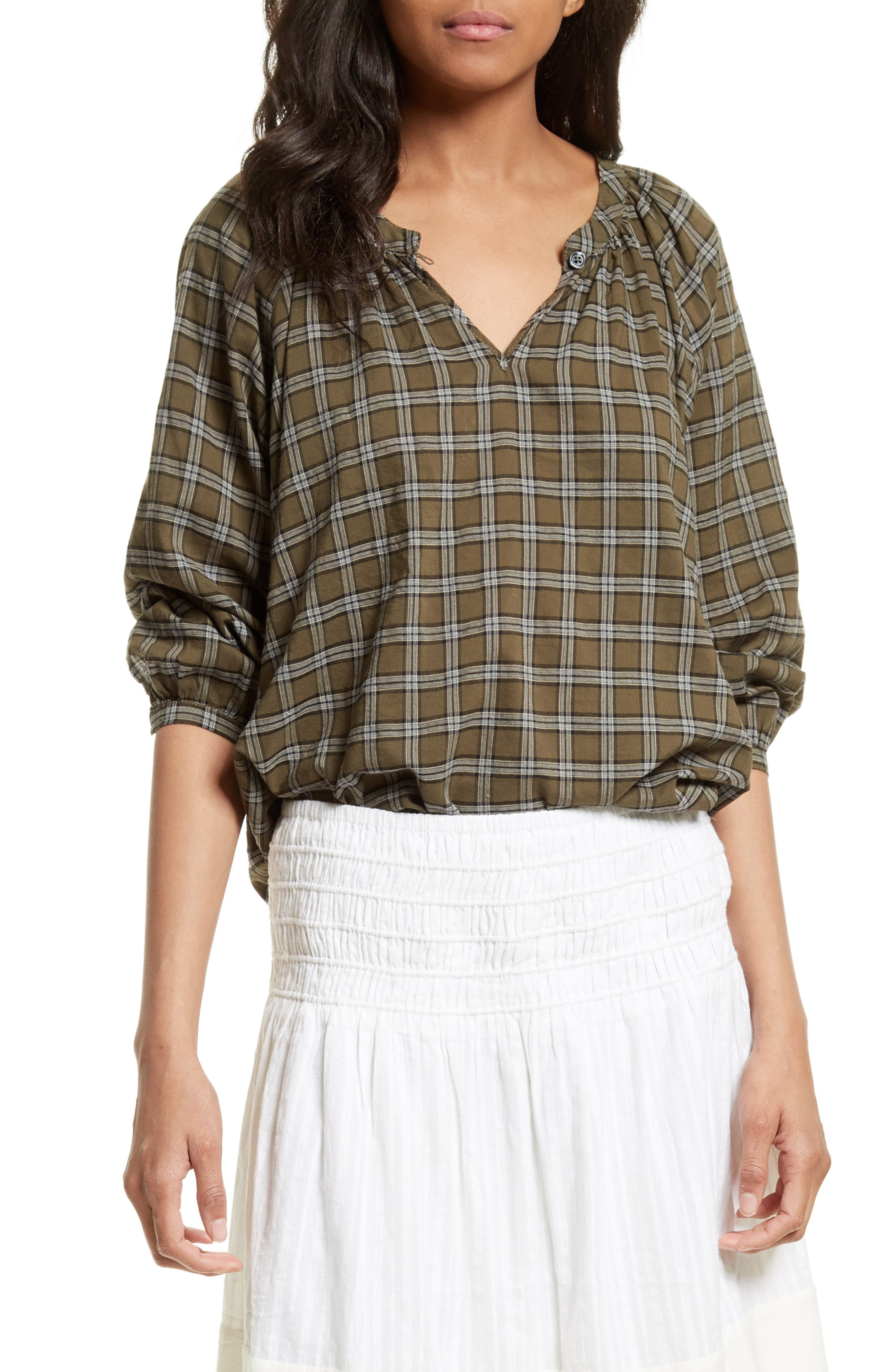 The Wildflower Plaid Top,                         Main,                         color, Army Green Plaid