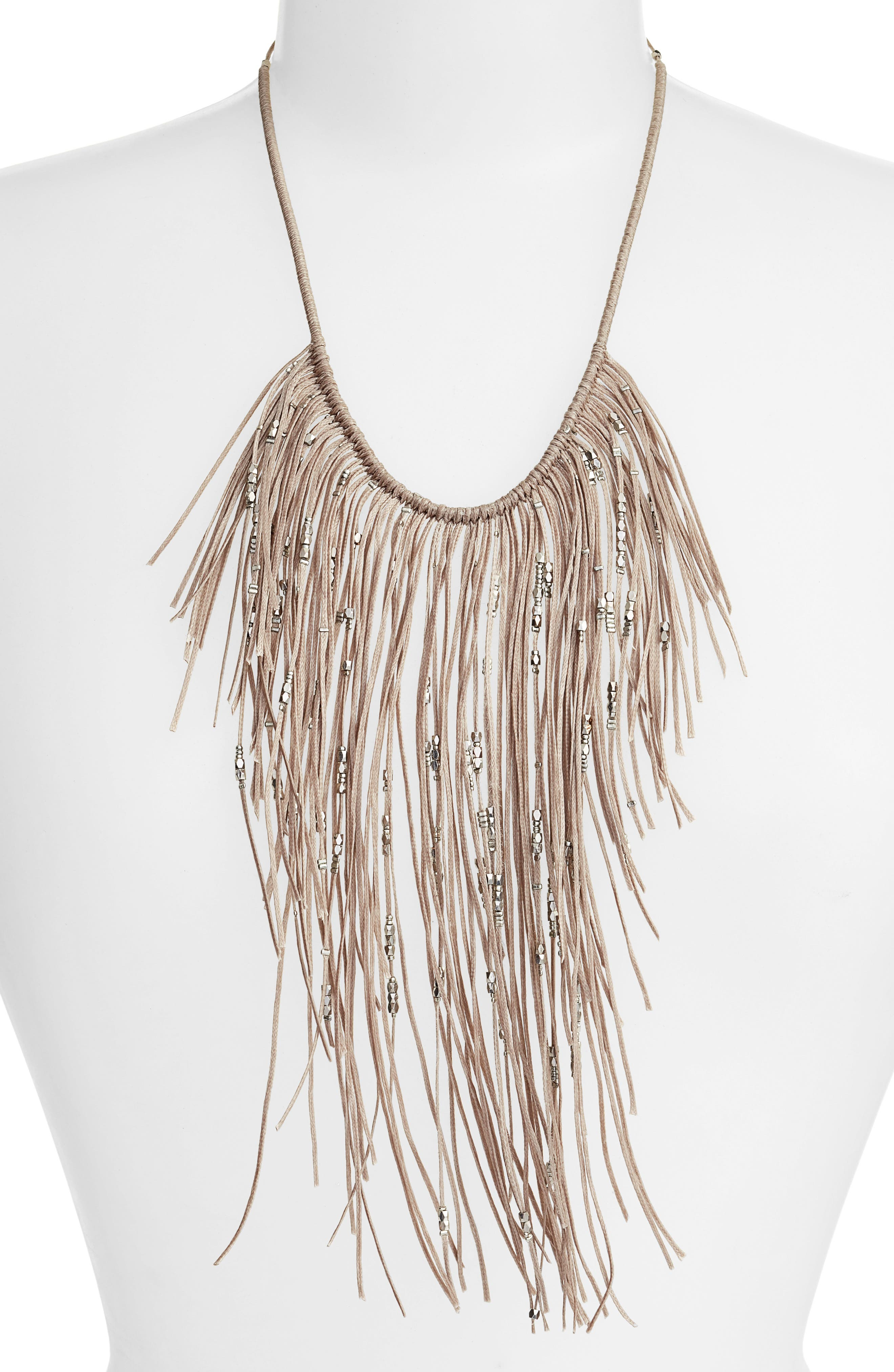Glistening Fringe Necklace,                             Alternate thumbnail 2, color,                             Grey