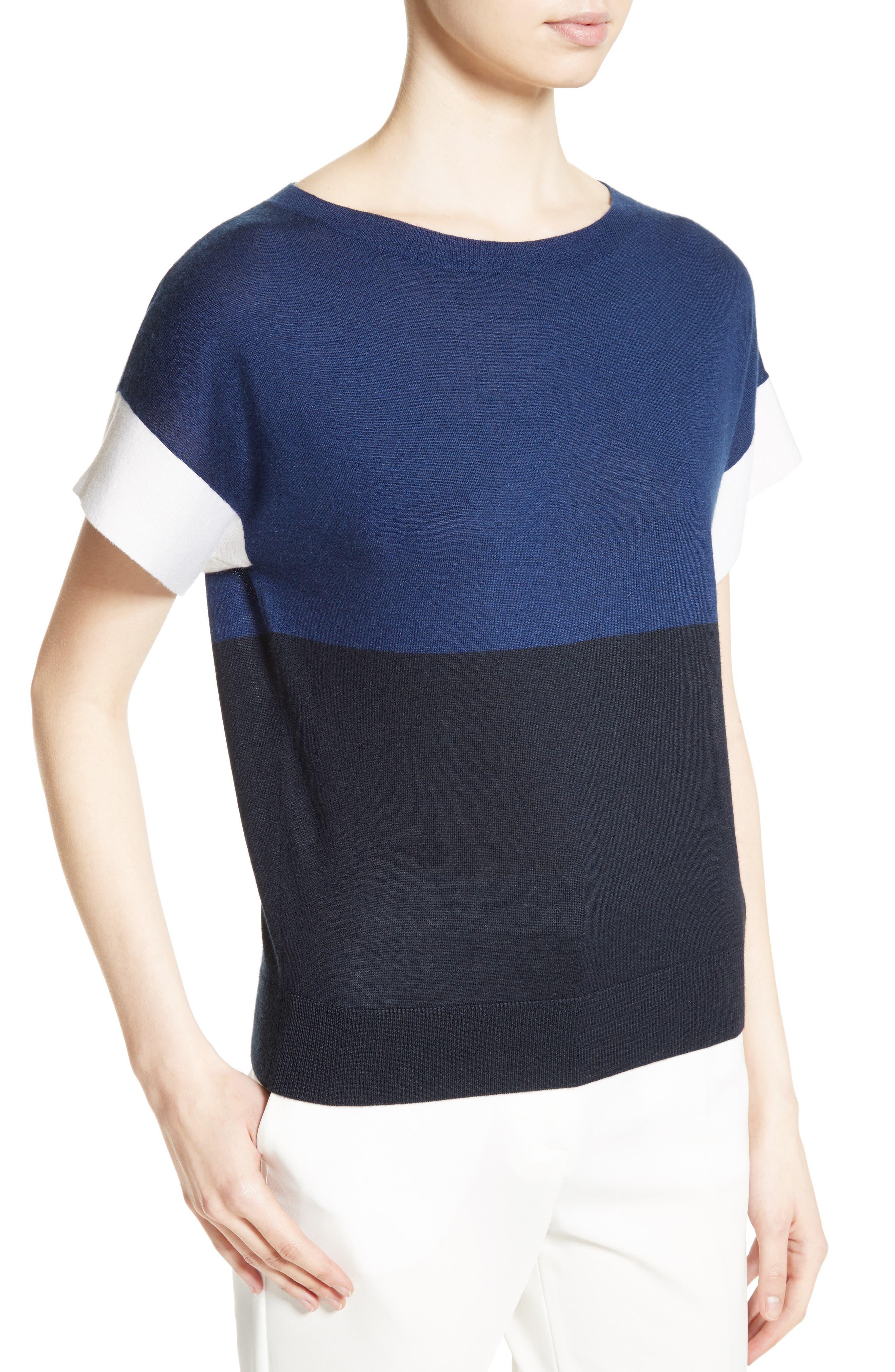 Colimbo Silk & Cashmere Top,                             Alternate thumbnail 5, color,                             Ultra Marine