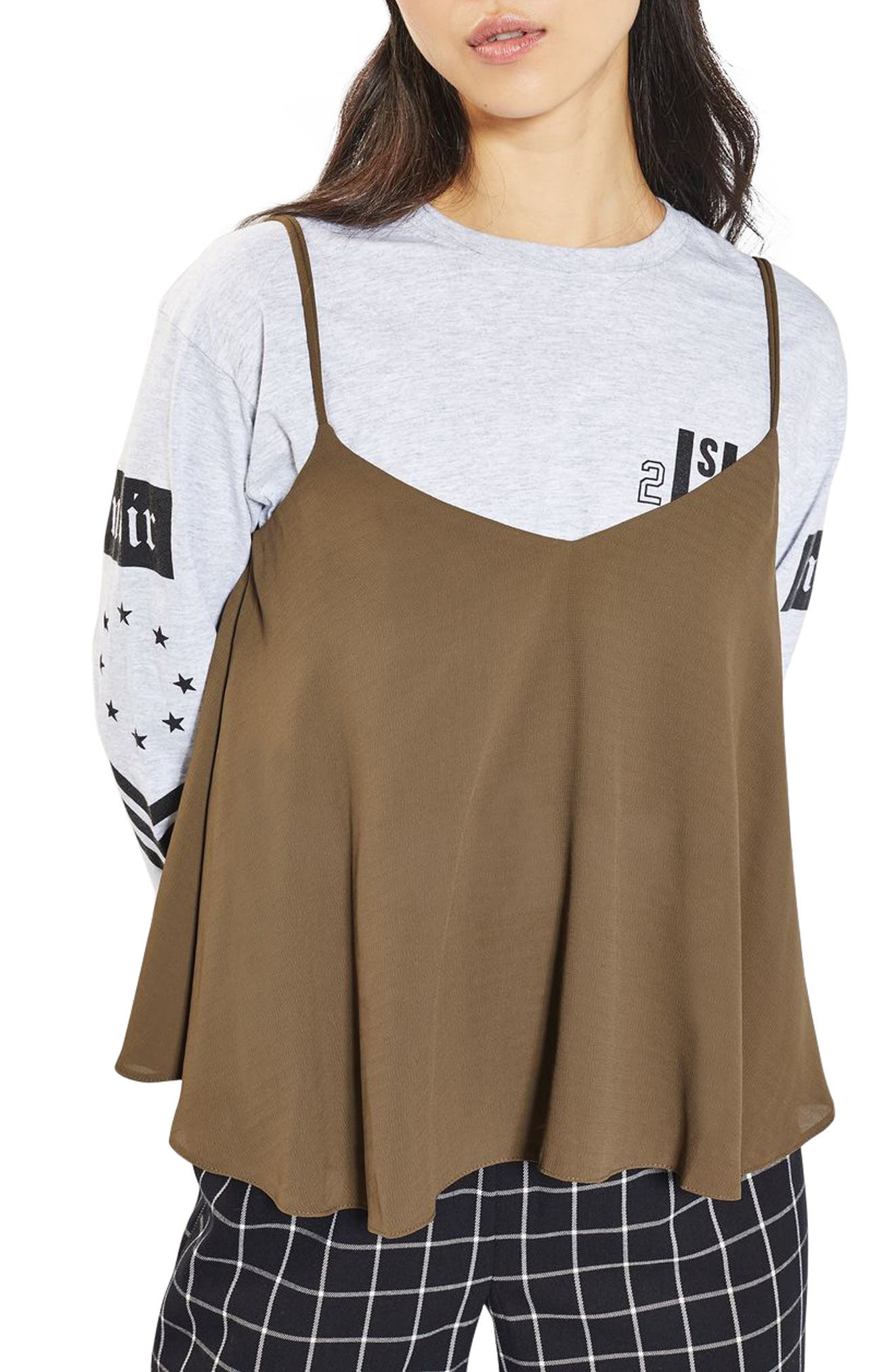 Main Image - Topshop Rouleau Swing Camisole (Regular & Petite)