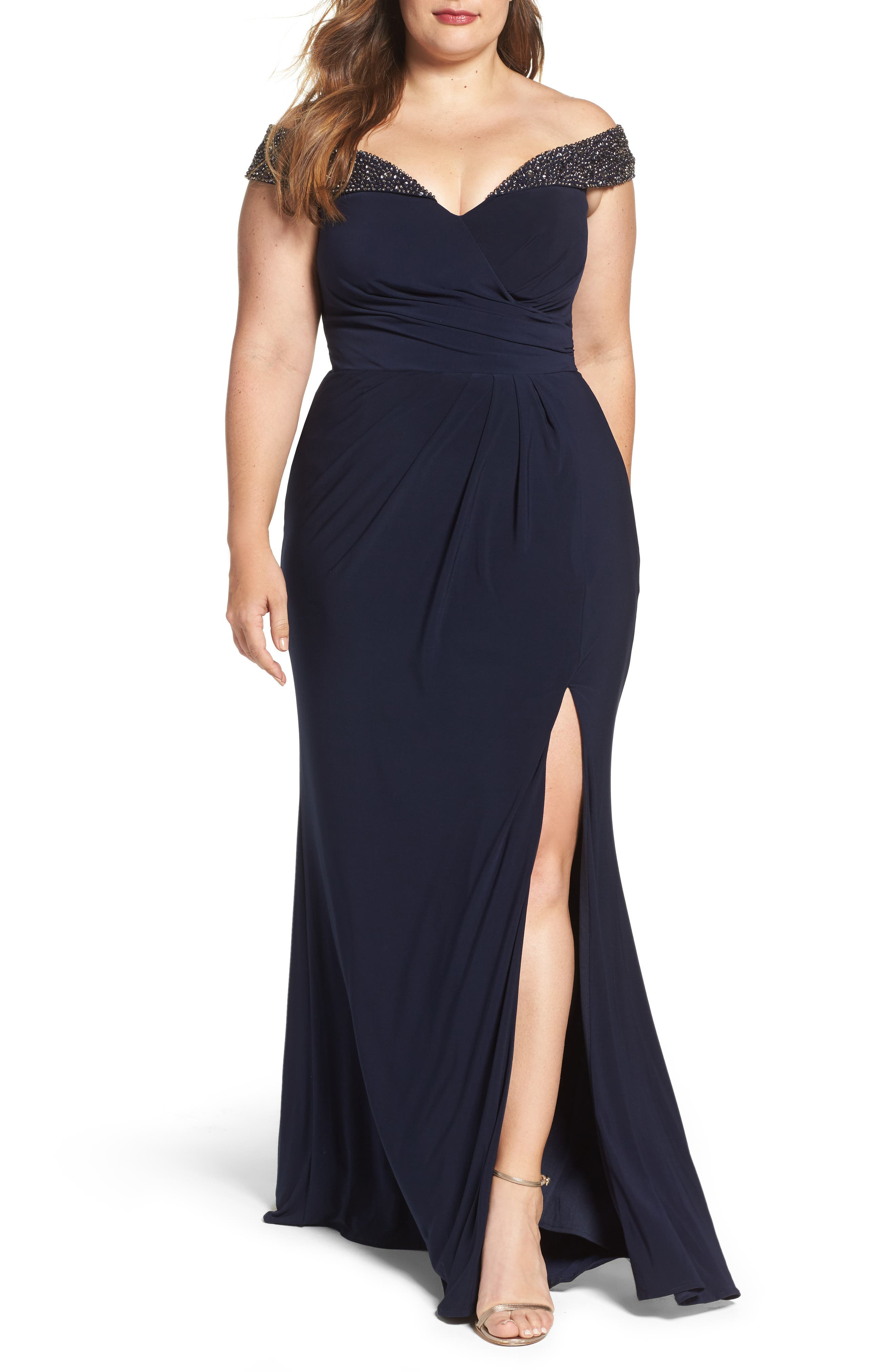 Main Image - Xscape Embellished Off the Shoulder Gown (Plus Size)