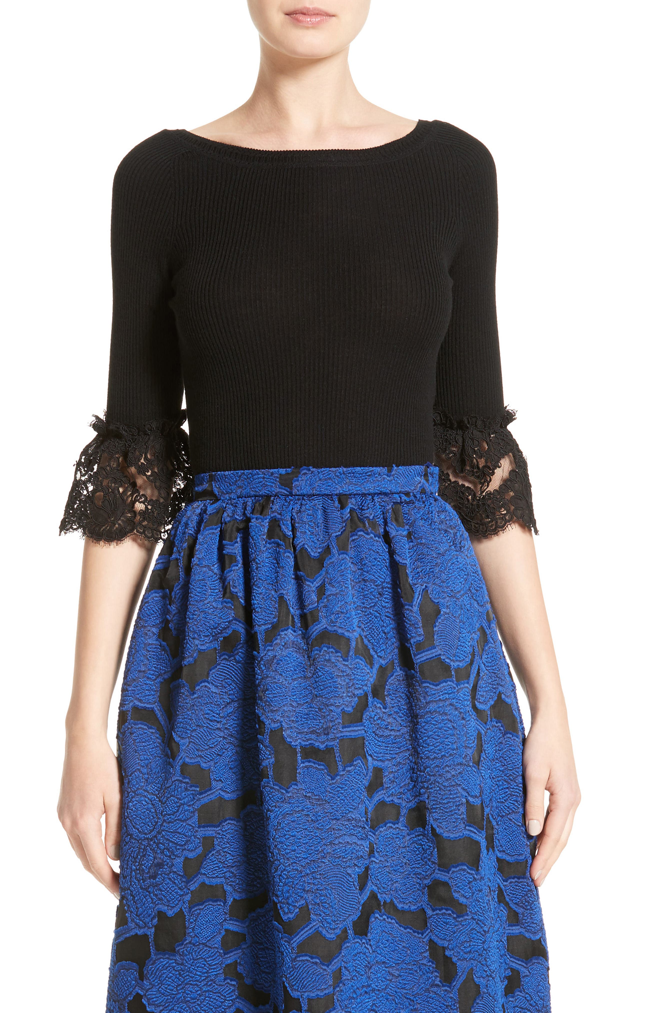 Oscar de la Renta Lace Sleeve Wool Sweater