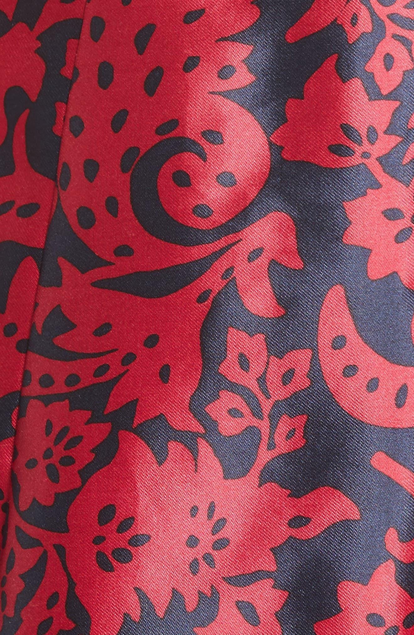 Print Mikado Fit & Flare Dress,                             Alternate thumbnail 3, color,                             Navy/ Garnet