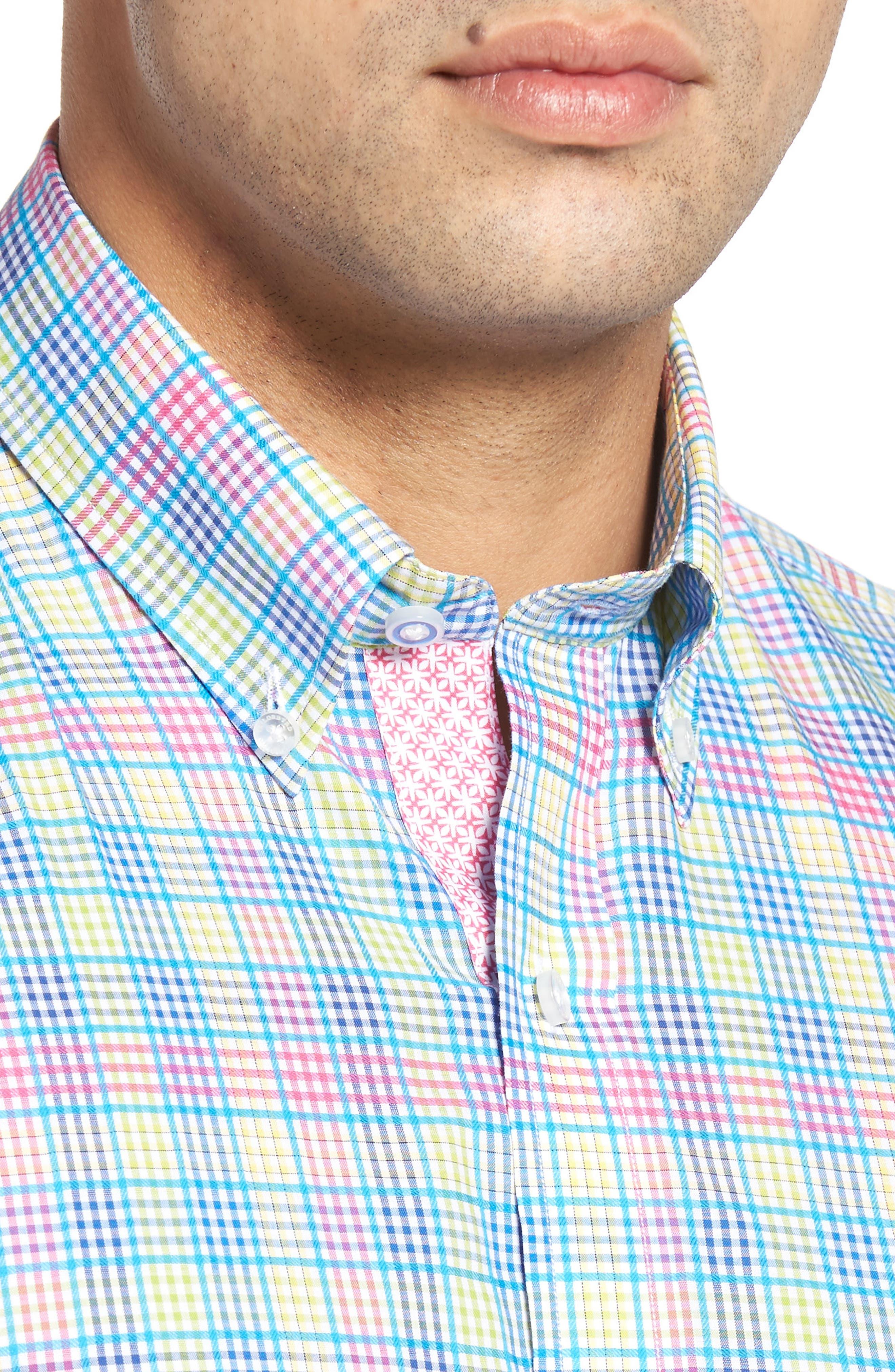 Lemon Plaid Sport Shirt,                             Alternate thumbnail 4, color,                             Blue/ Lime
