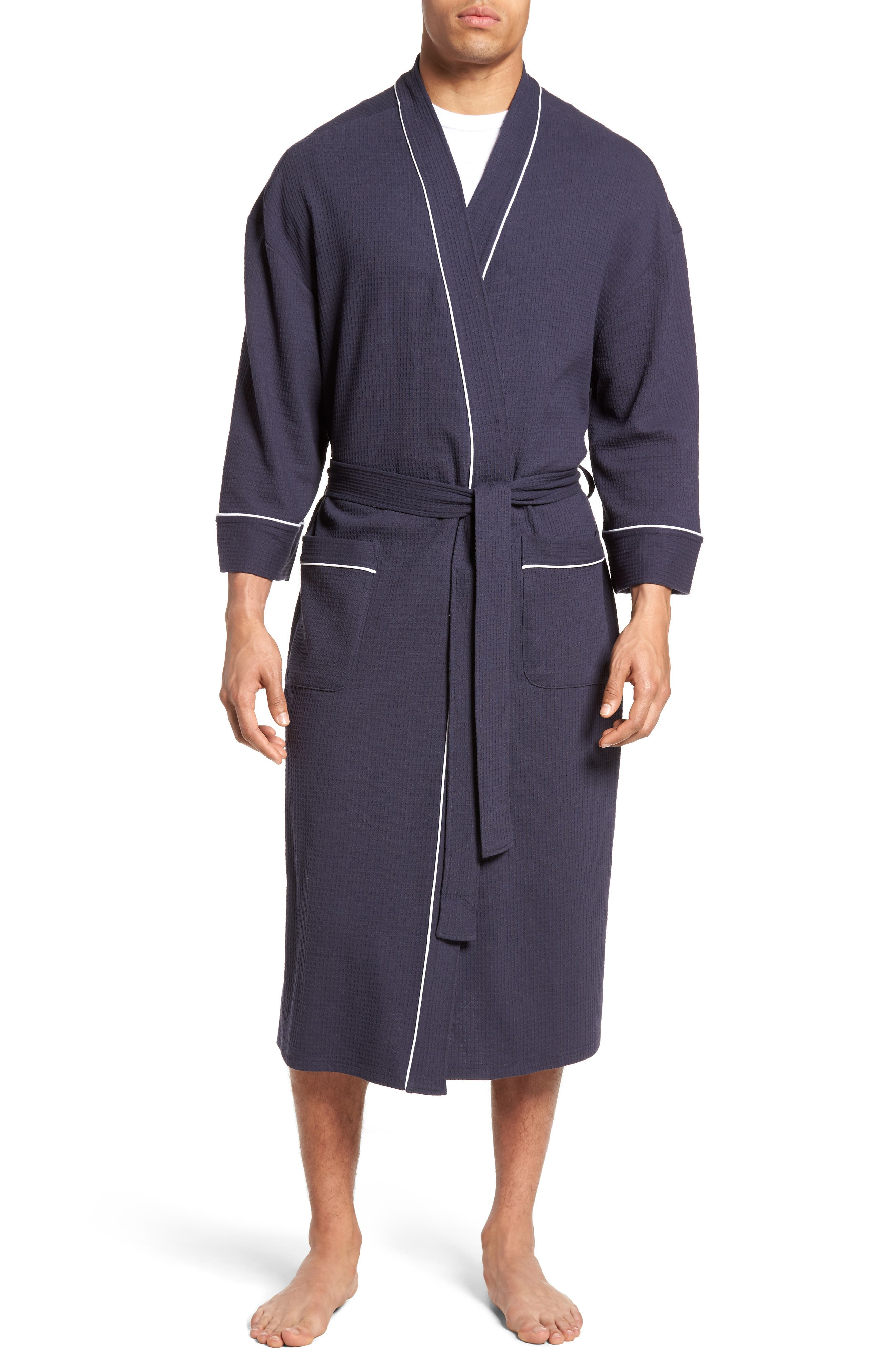 Waffle Knit Robe,                         Main,                         color, Navy