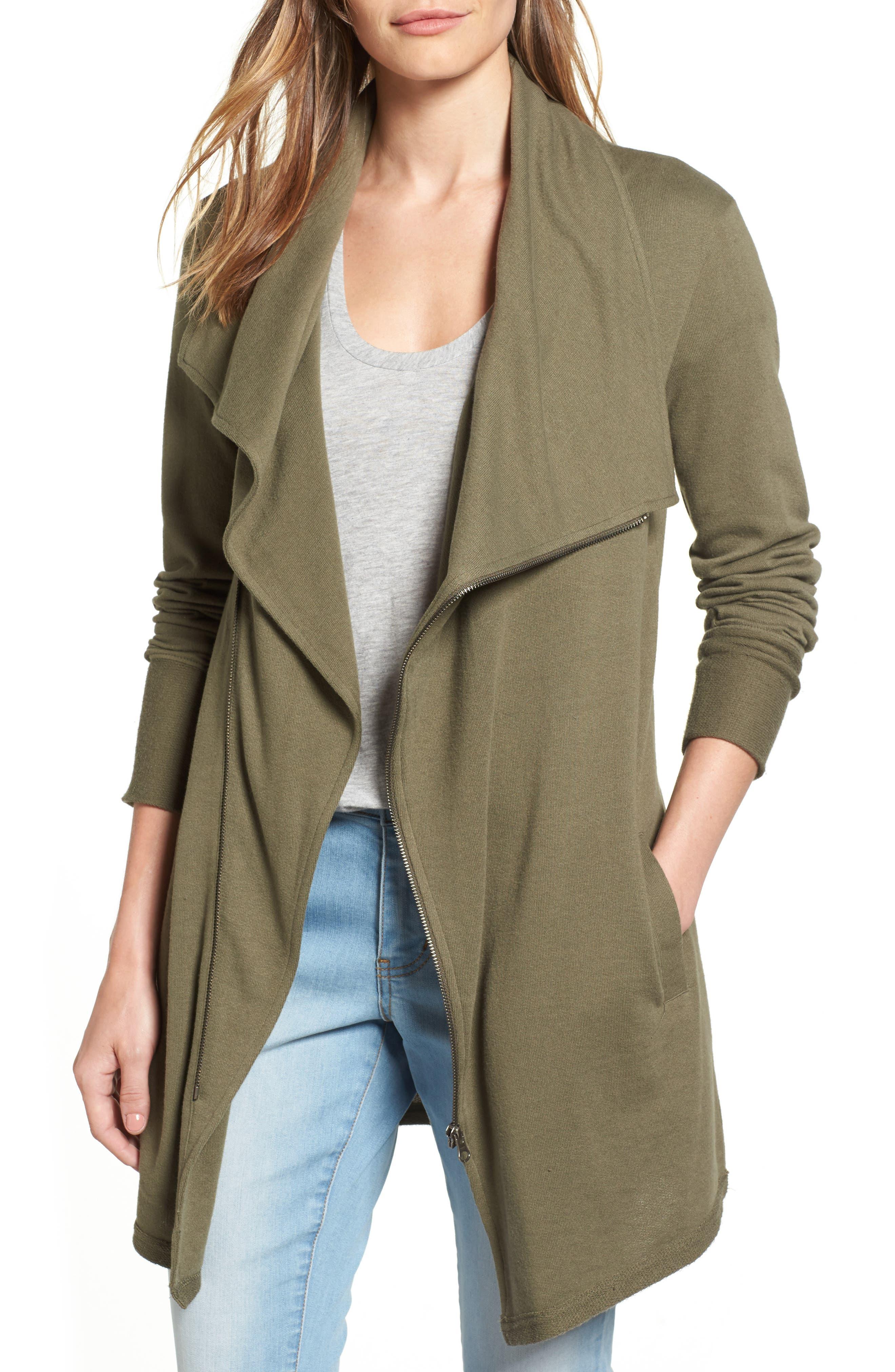 Caslon® Asymmetrical Drape Collar Terry Jacket (Regular & Petite)