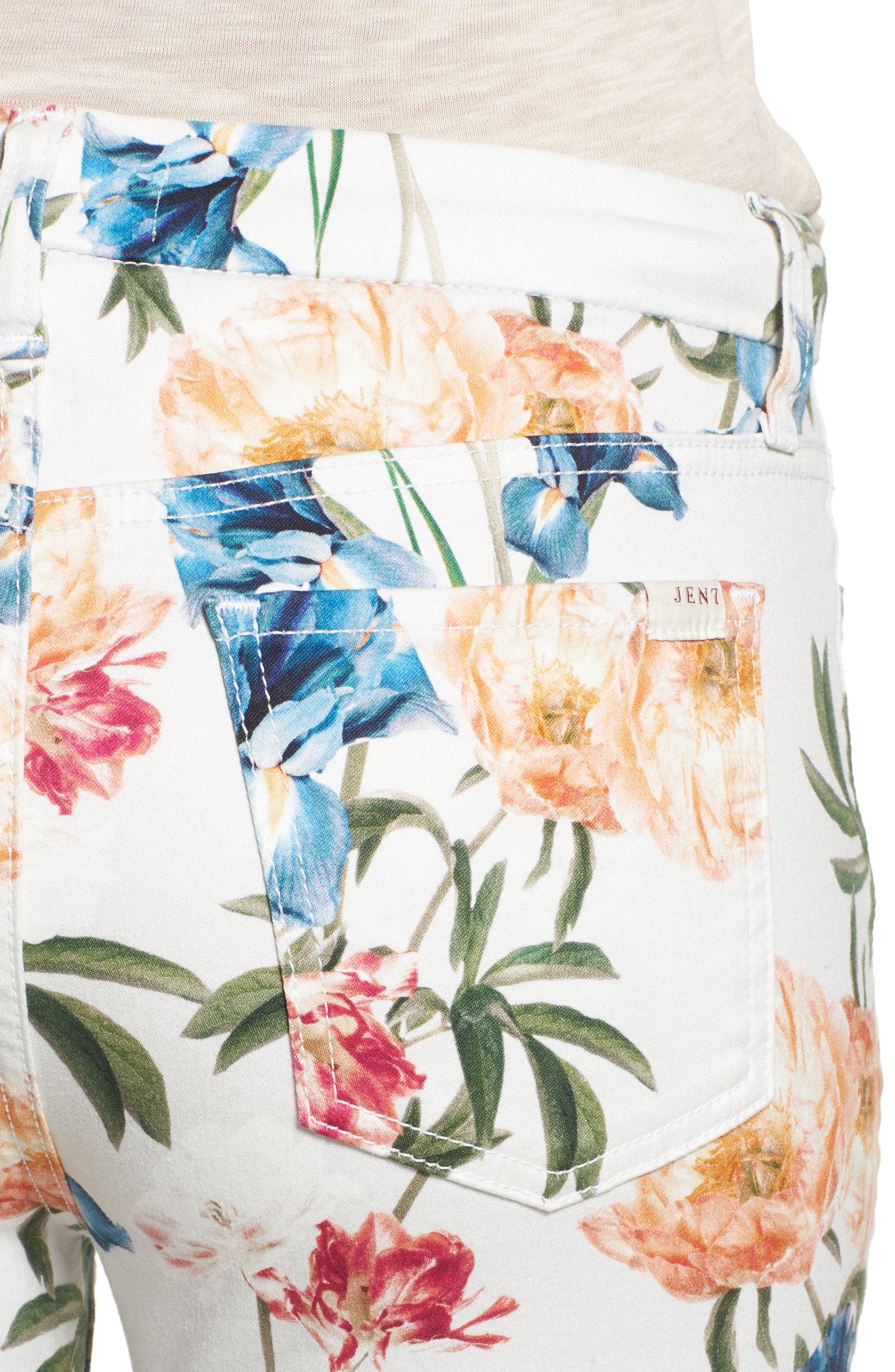 Alternate Image 4  - Jen7 Floral Print Crop Skinny Jeans