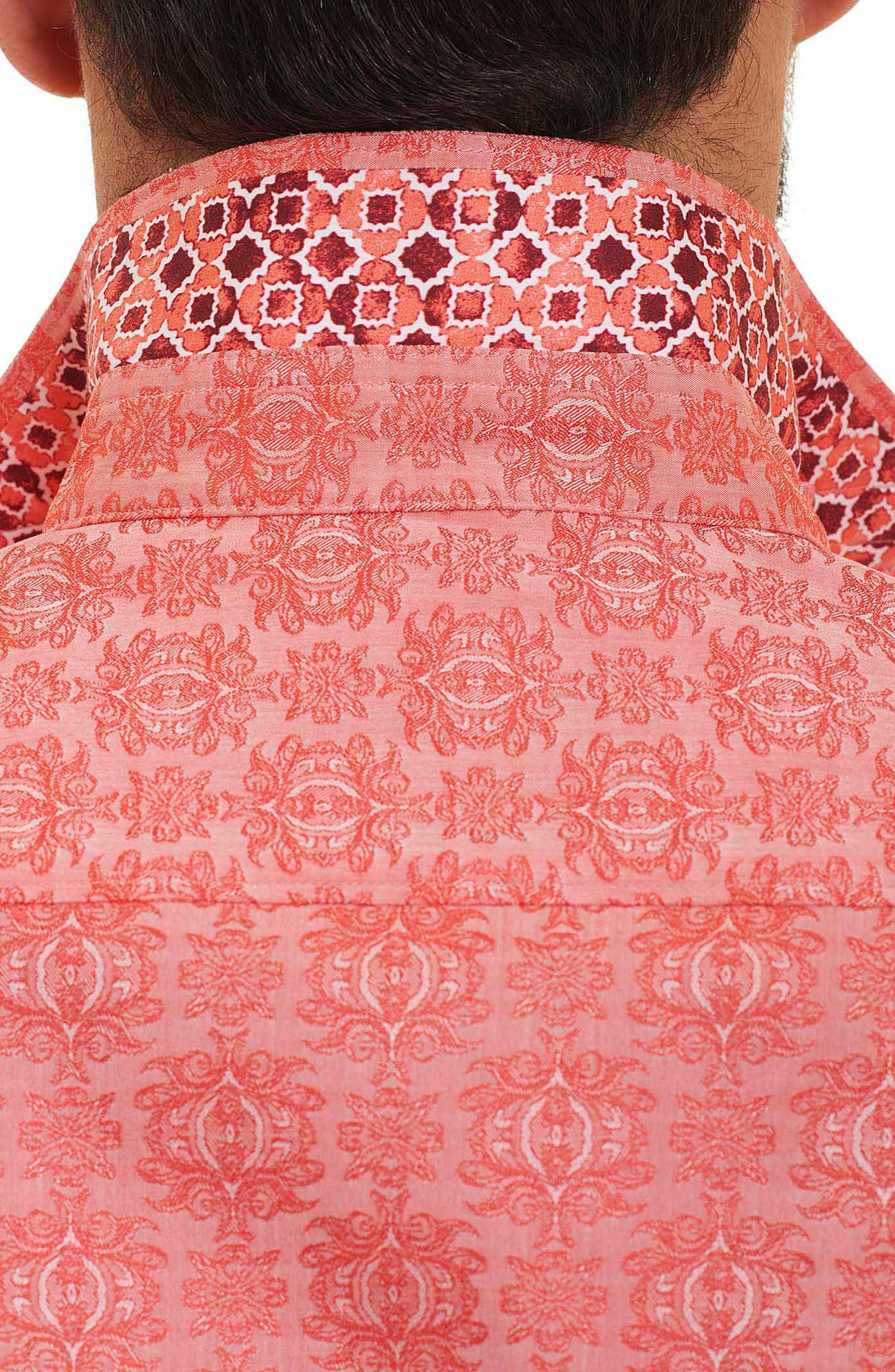Cullen Regular Fit Sport Shirt,                             Alternate thumbnail 4, color,                             Coral