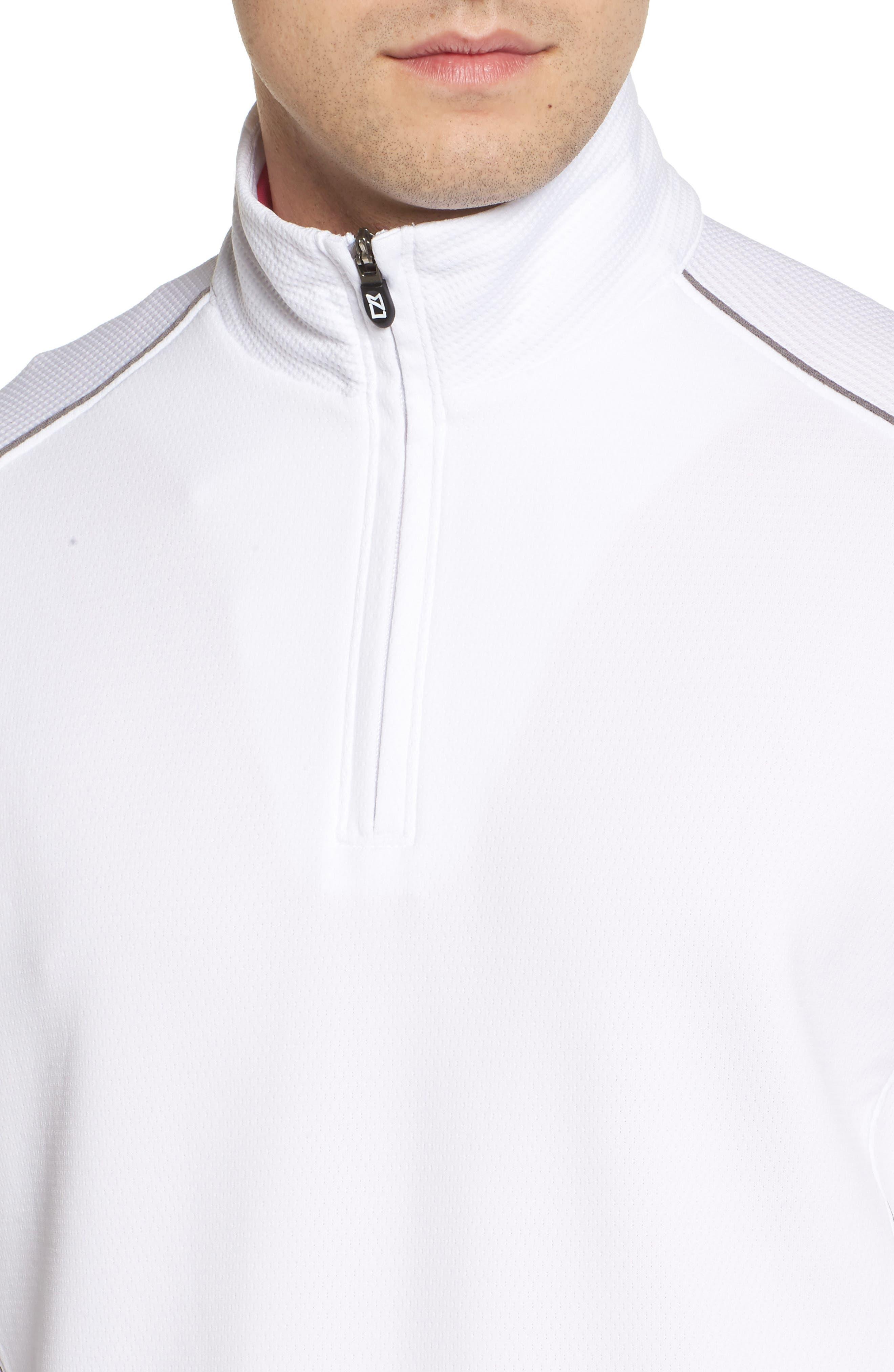 'DryTec<sup>®</sup> Edge' Half Zip Mesh Pullover,                             Alternate thumbnail 4, color,                             White