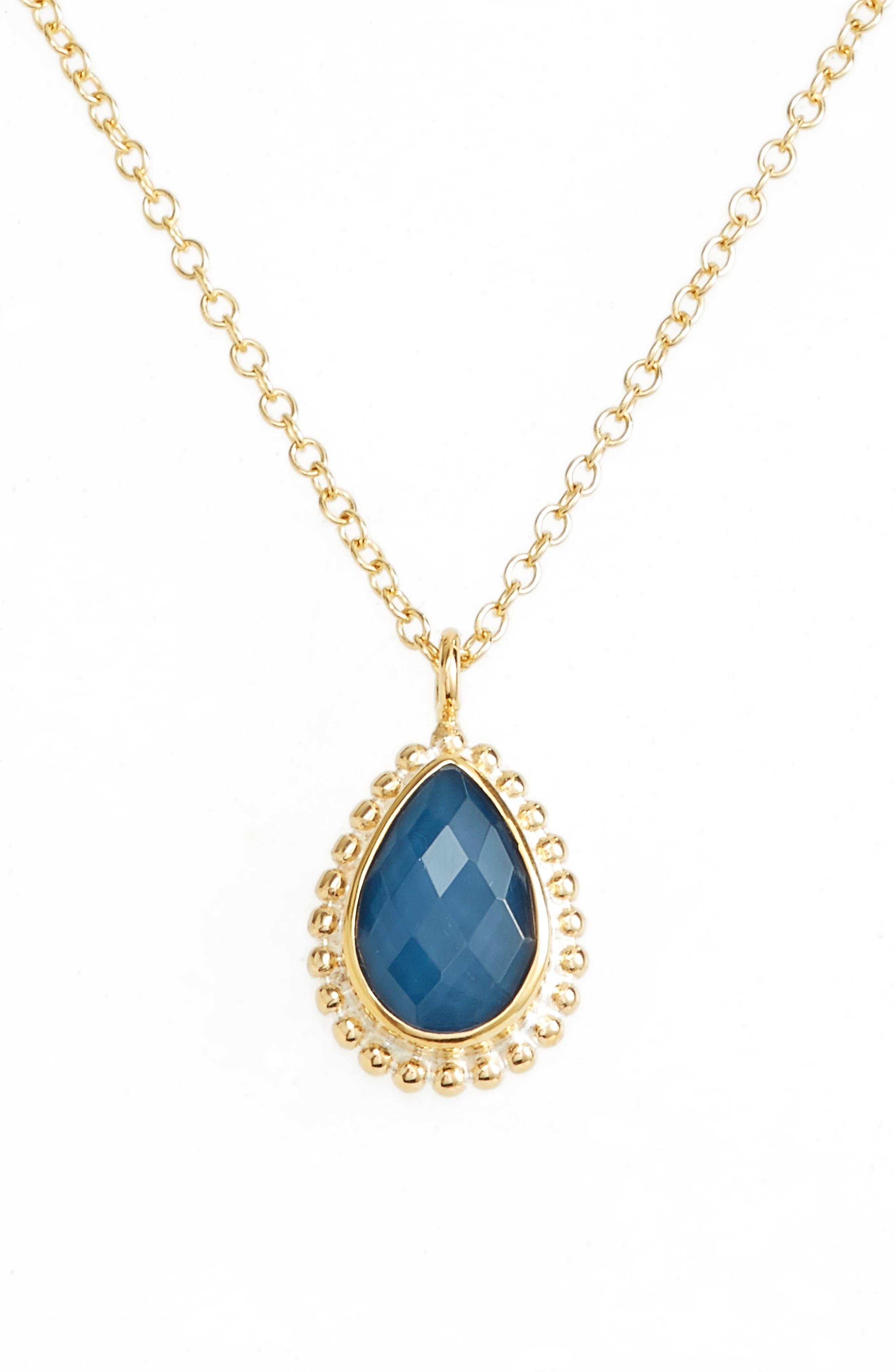 Blue Quartz Teardrop Pendant Necklace,                             Alternate thumbnail 2, color,                             Gold/ Blue Quartz