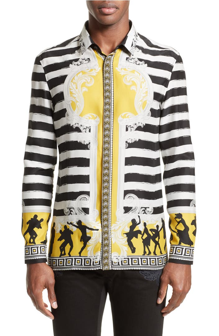 versace collection stripe print silk shirt nordstrom. Black Bedroom Furniture Sets. Home Design Ideas
