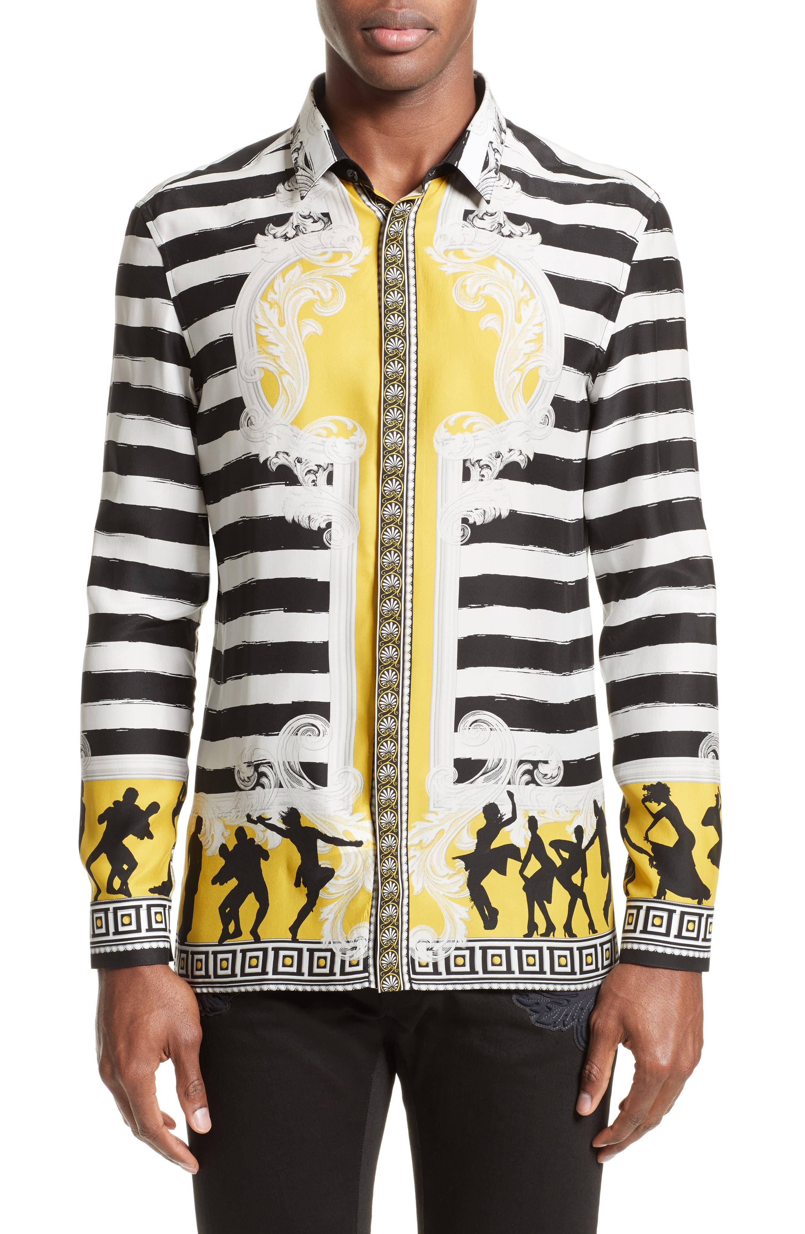 Versace Collection Stripe Print Silk Shirt