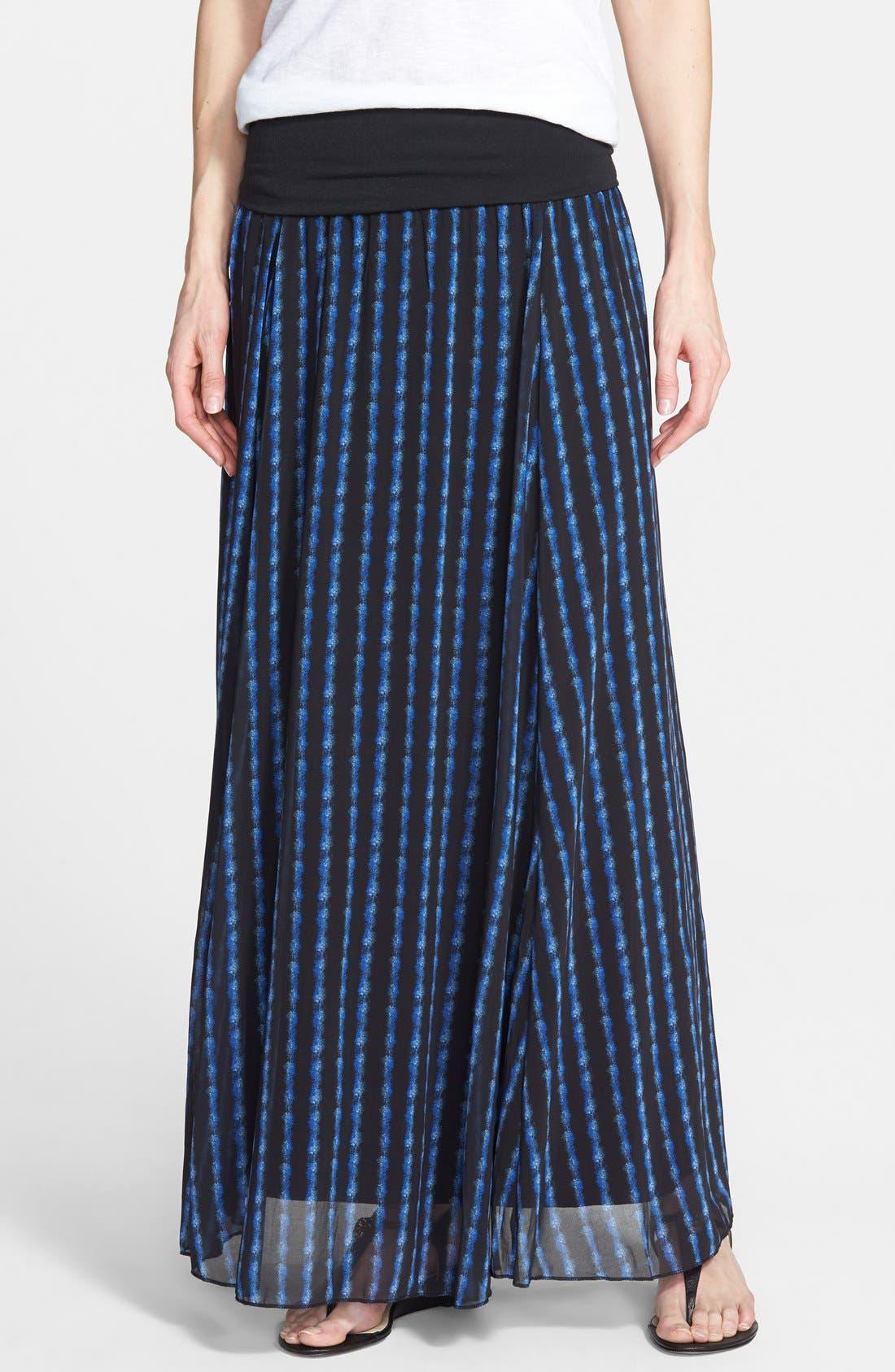 Main Image - Max & Mia Knit Waistband Print Maxi Skirt