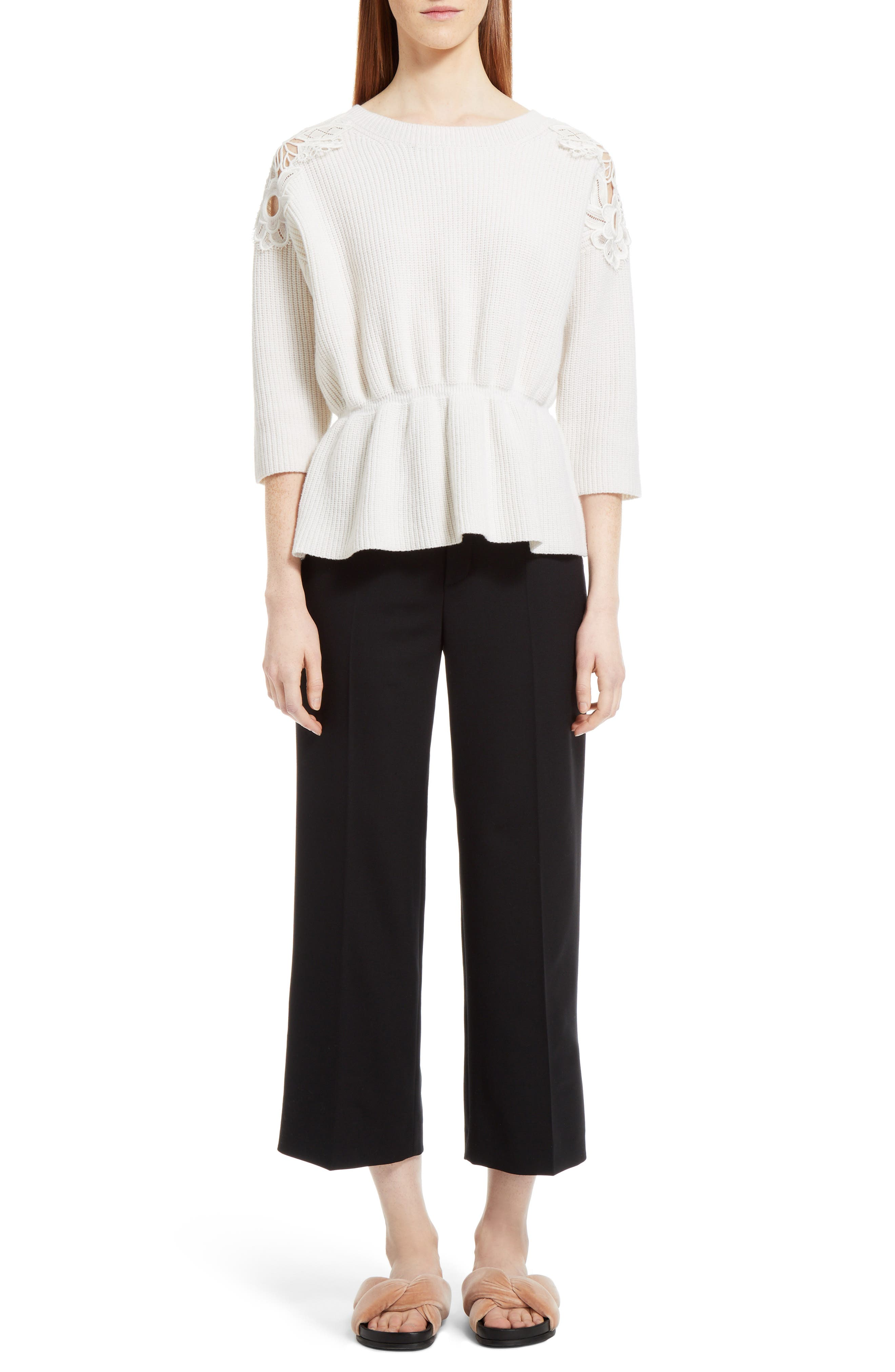 Lace Trim Merino Wool & Cashmere Sweater,                             Alternate thumbnail 6, color,                             Milk