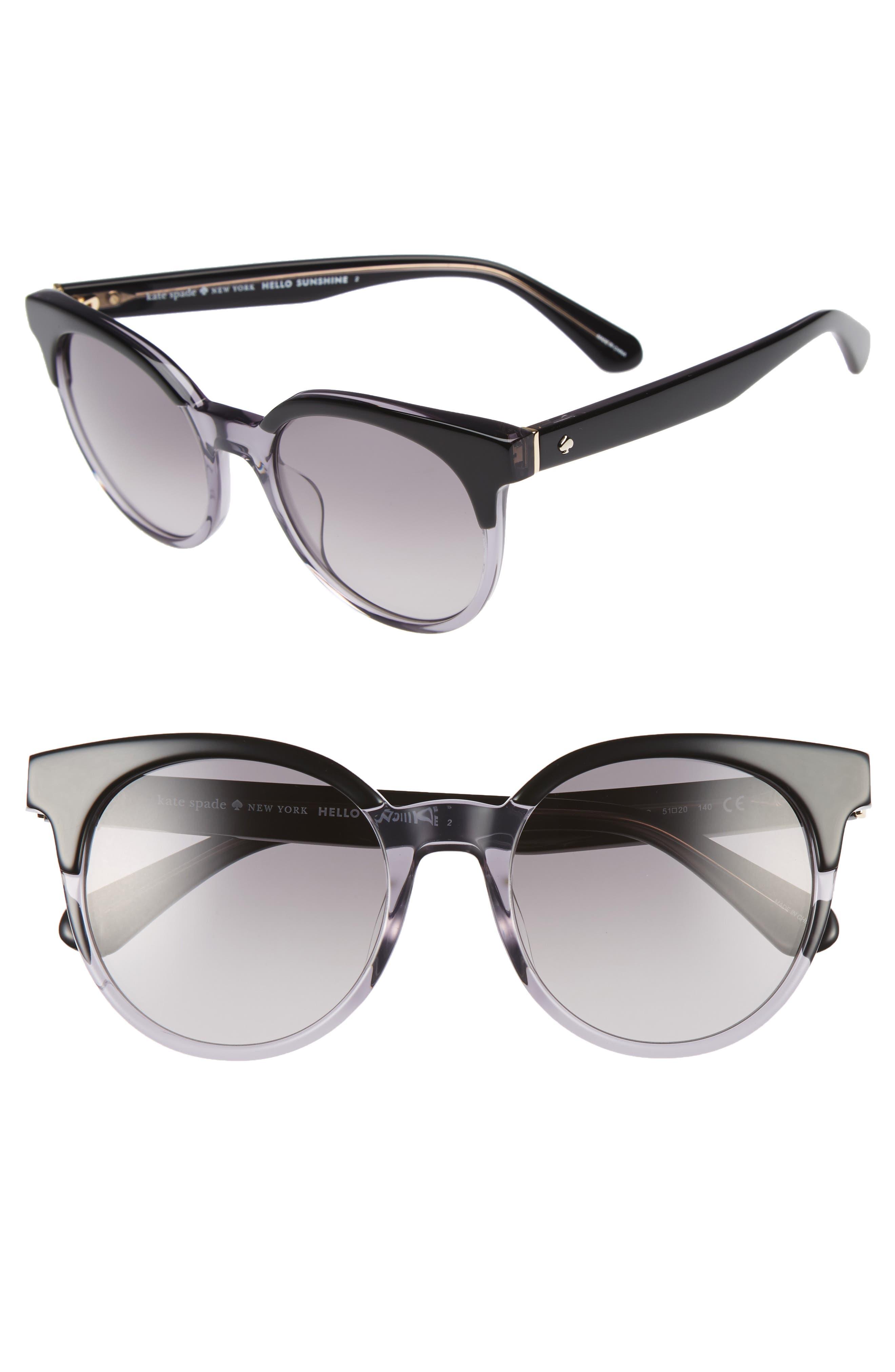 abianne 51mm round sunglasses,                         Main,                         color, Black/ Grey