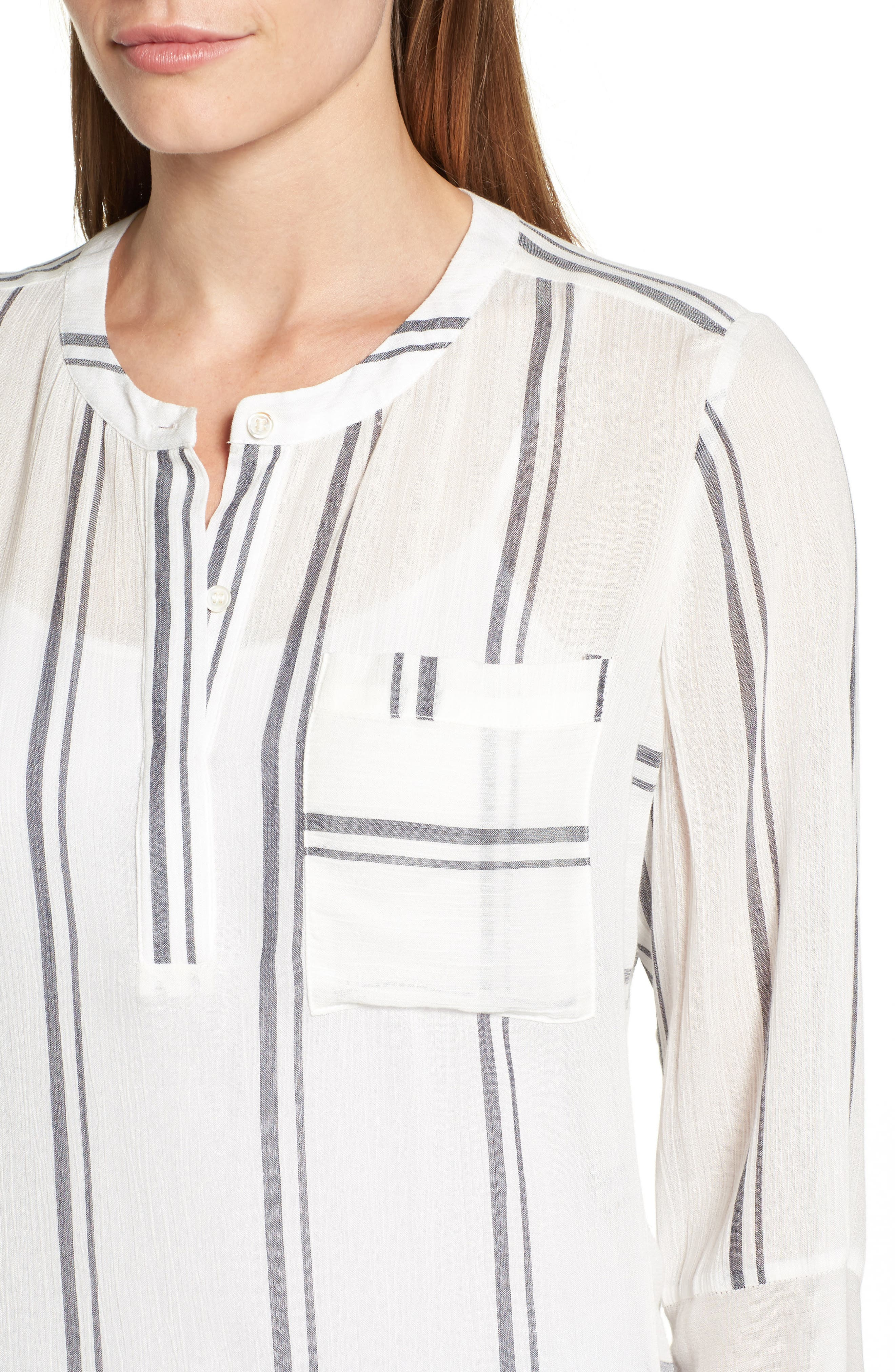 Alternate Image 4  - Two by Vince Camuto Parallel Stripe Henley Shirt