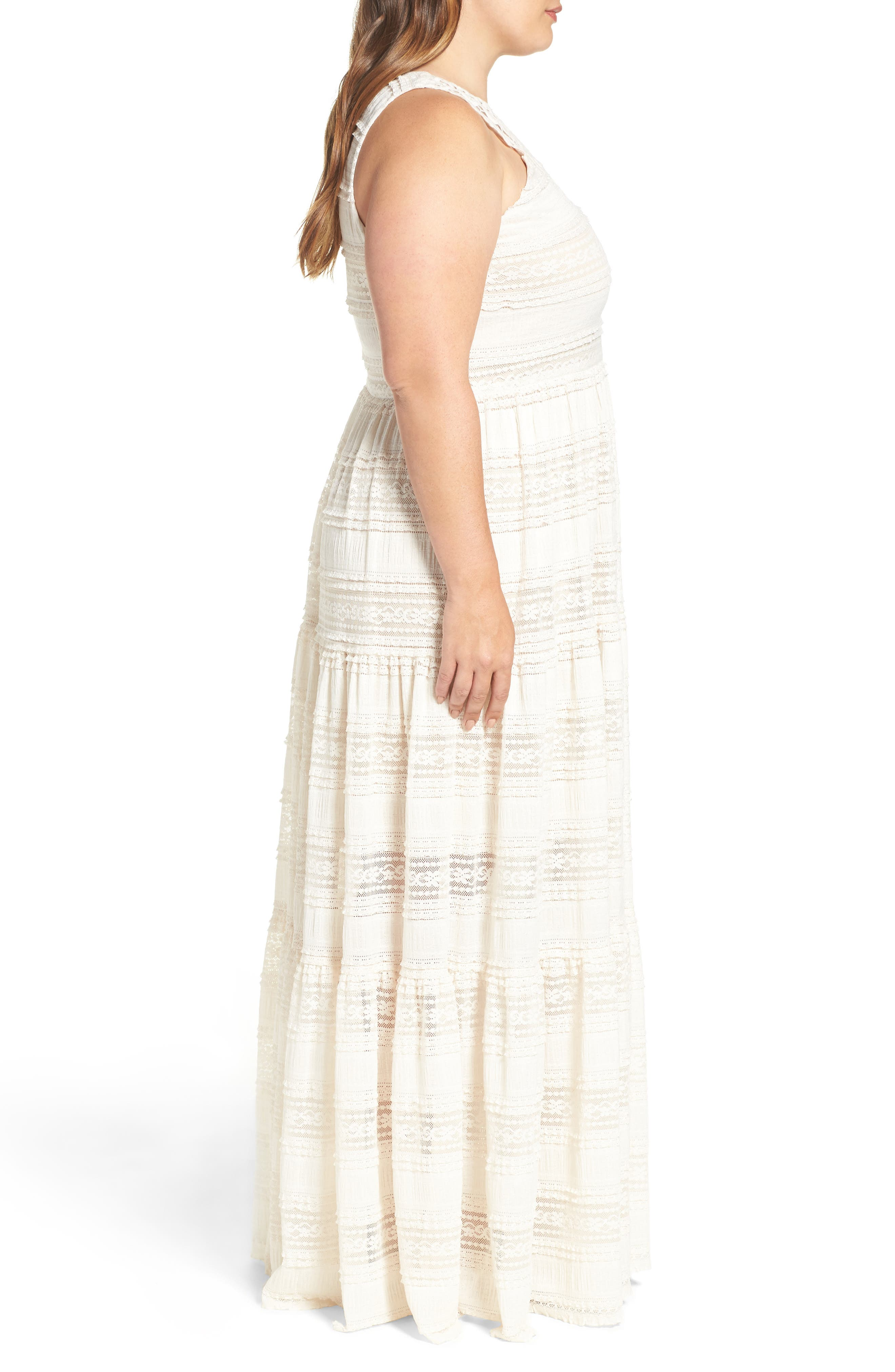 Tiered Lace Maxi Dress,                             Alternate thumbnail 4, color,                             Ivory