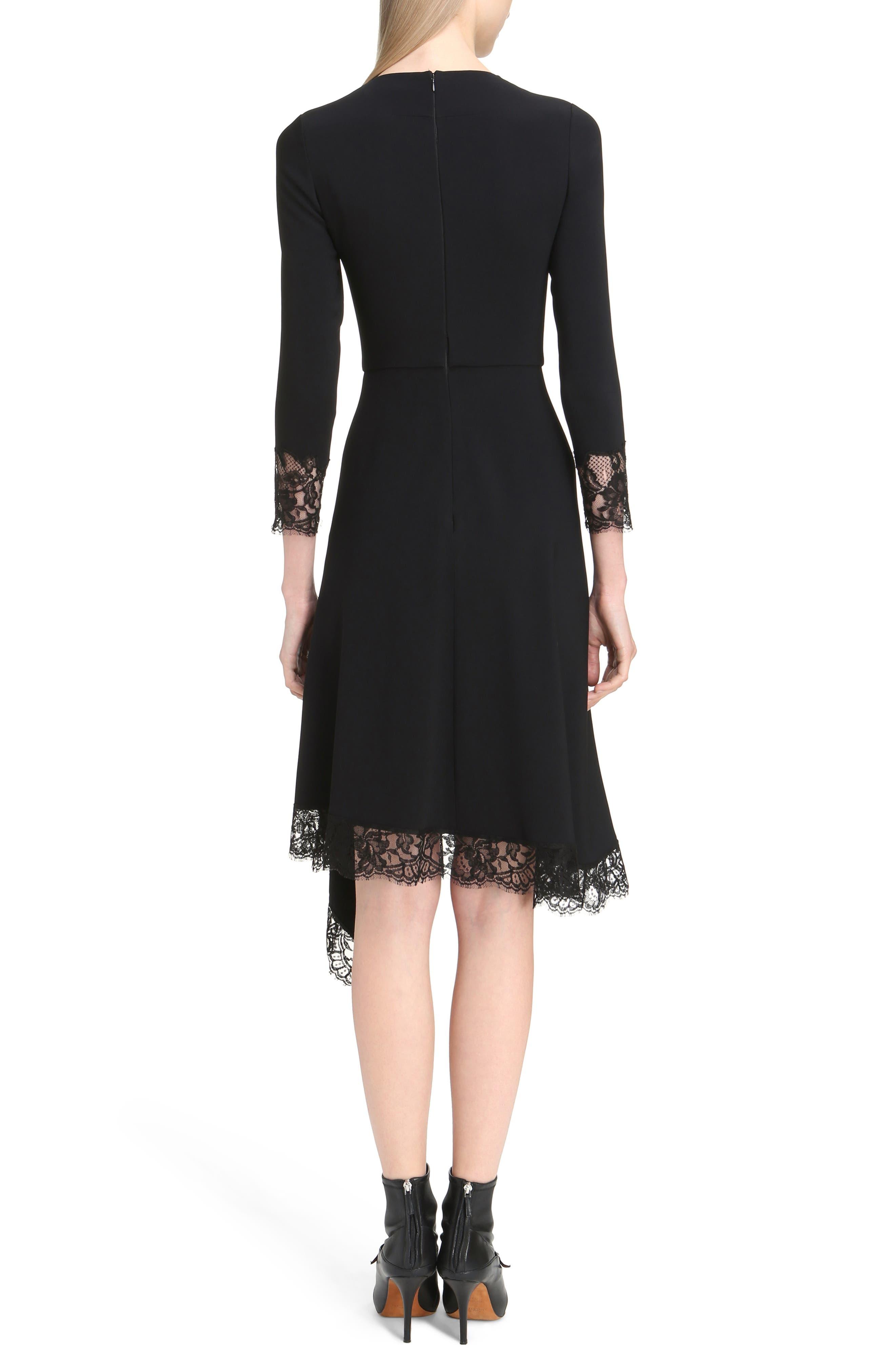 Alternate Image 2  - Givenchy Lace Trim Stretch Cady Asymmetrical Dress
