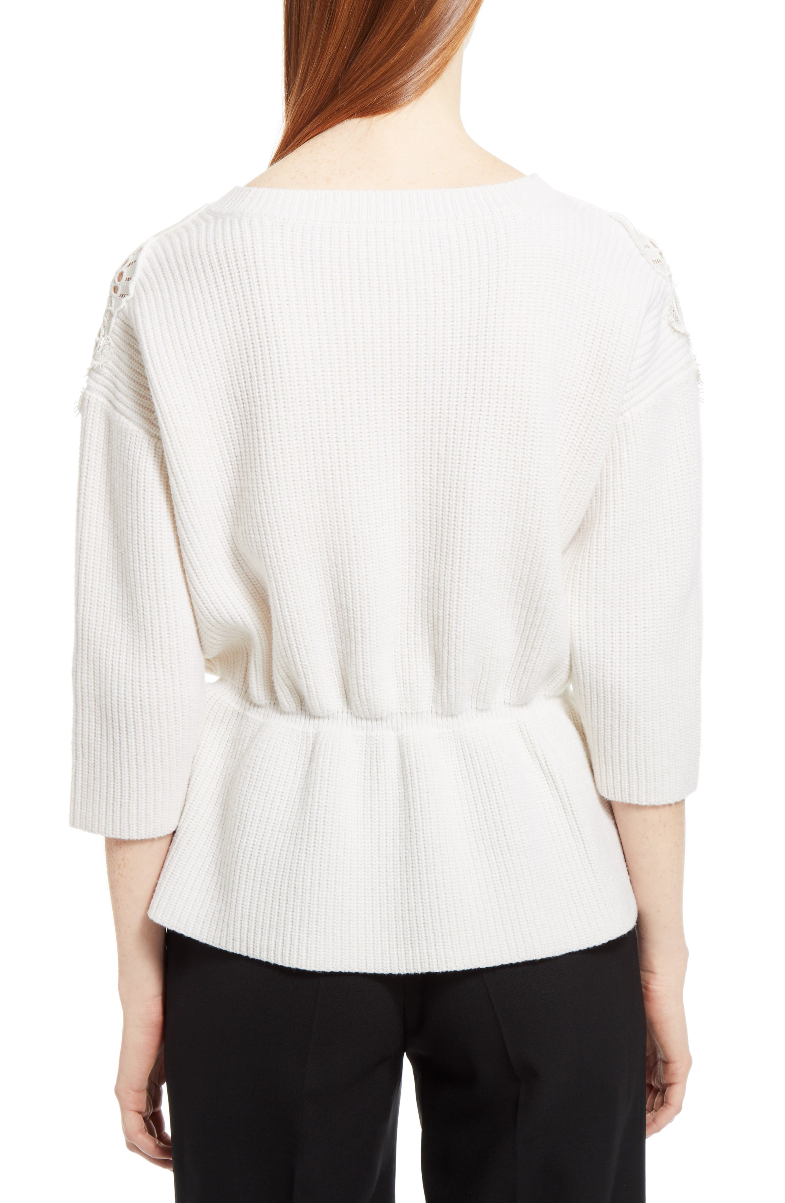 Lace Trim Merino Wool & Cashmere Sweater,                             Alternate thumbnail 2, color,                             Milk
