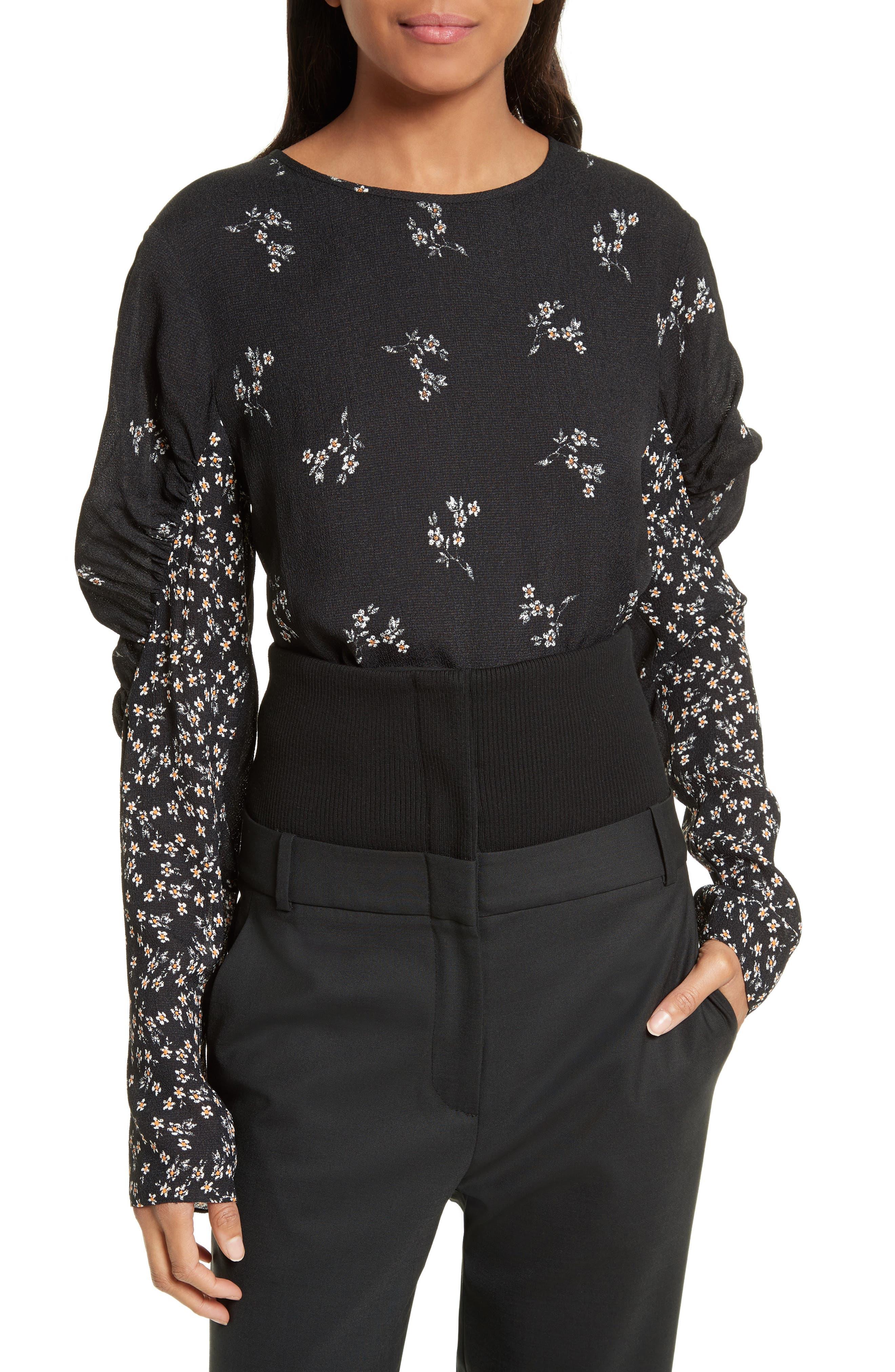 Florence Lili Floral Top,                         Main,                         color, Black Multi