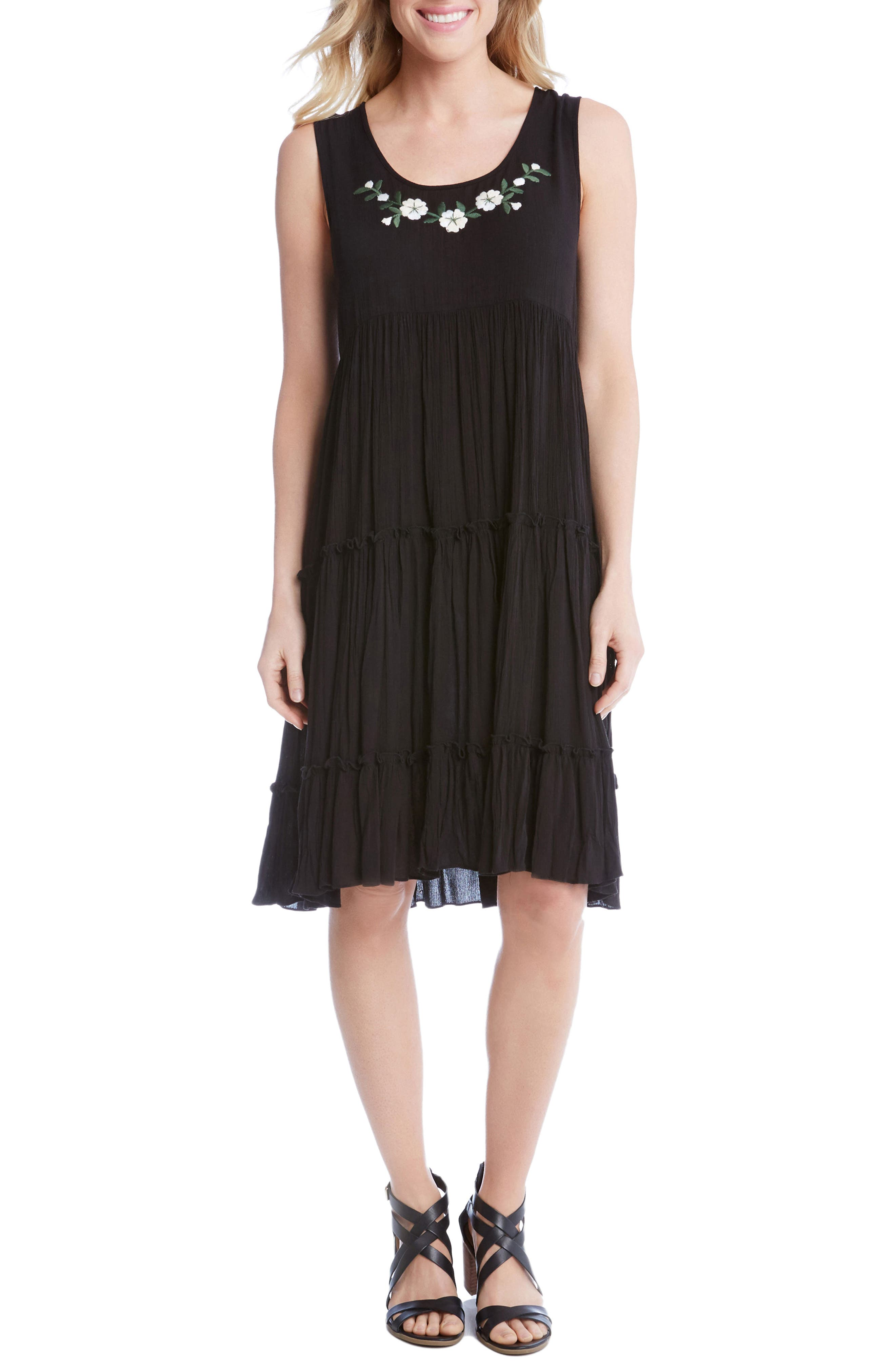 Embroidered Tiered A-Line Dress,                         Main,                         color, Black