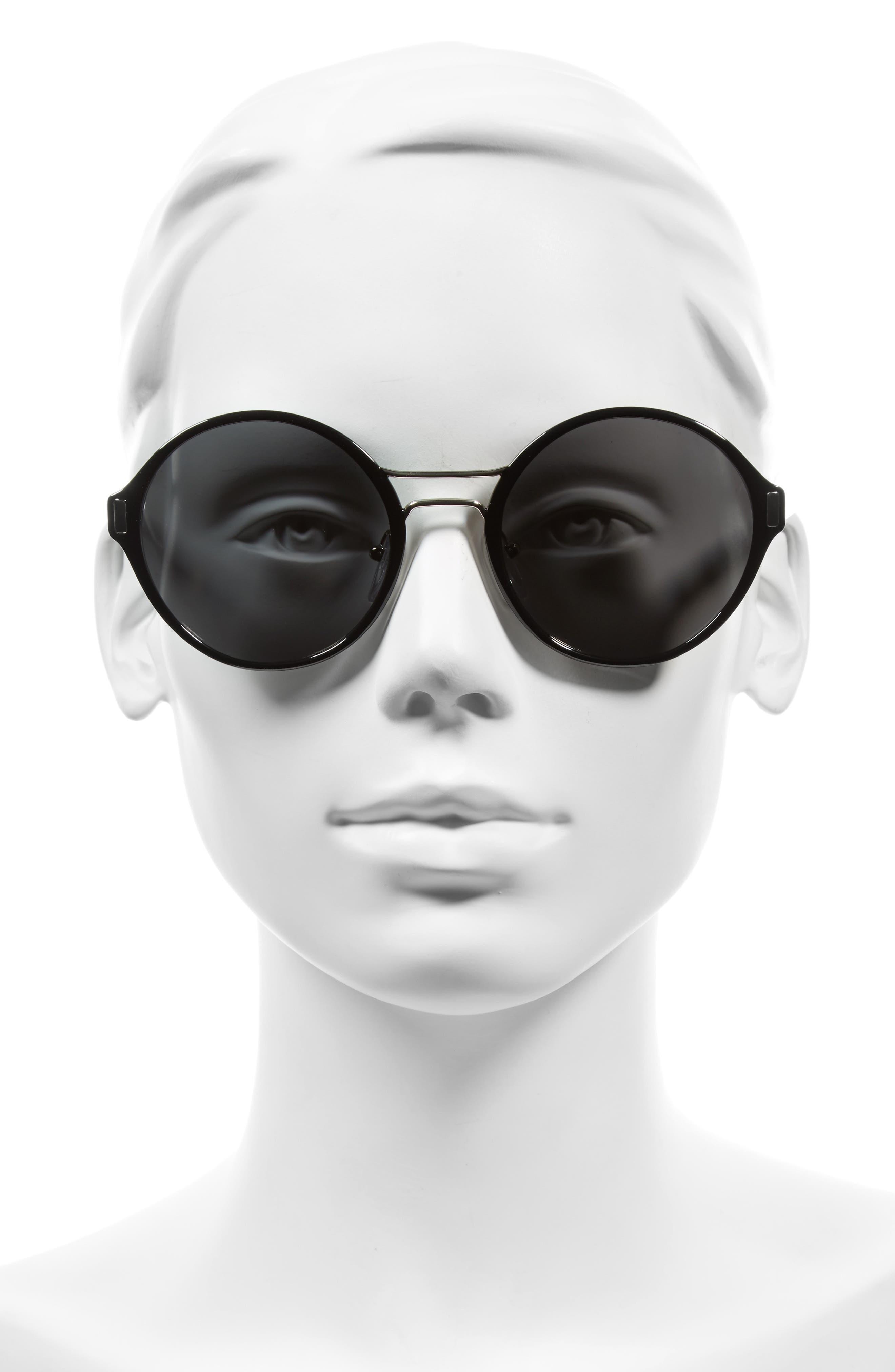 54mm Round Sunglasses,                             Alternate thumbnail 2, color,                             Black