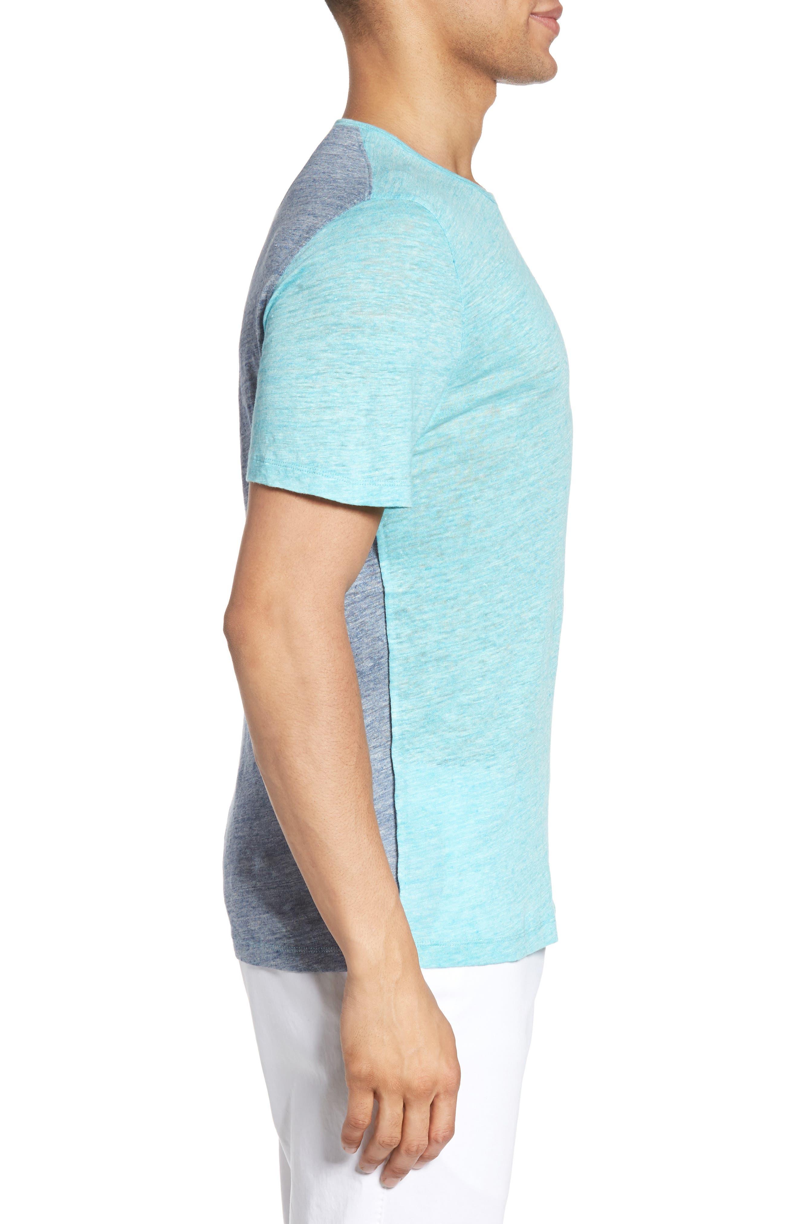 Monad Colorblock Linen T-Shirt,                             Alternate thumbnail 3, color,                             Aqua