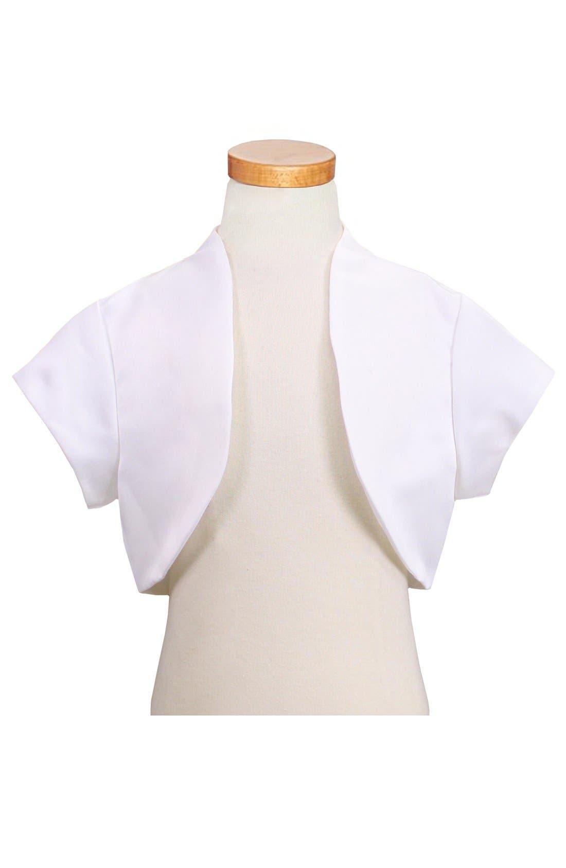 Short Sleeve Satin Bolero,                         Main,                         color, White