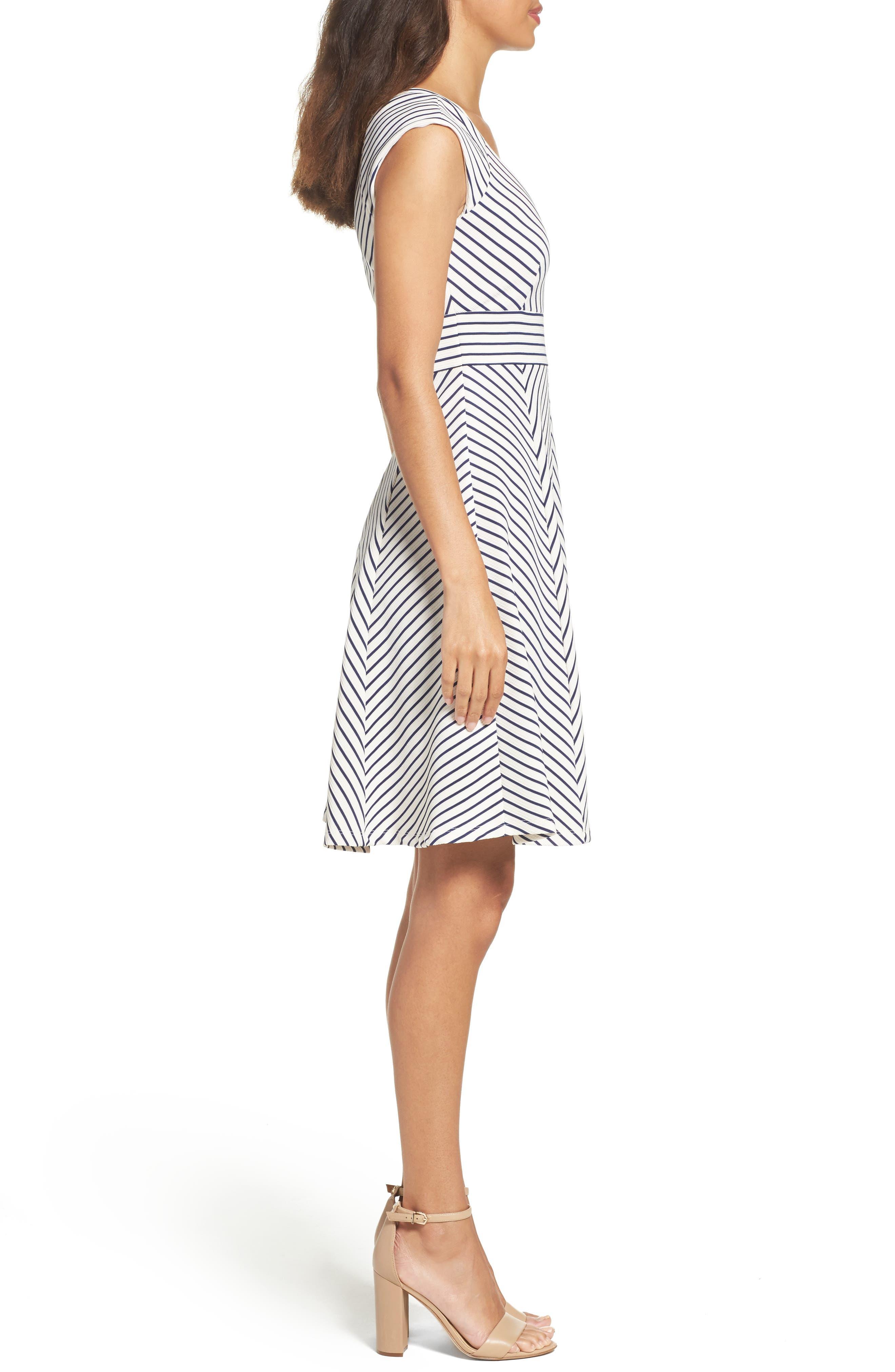 Stripe Fit & Flare Dress,                             Alternate thumbnail 3, color,                             White/ Blue Moon