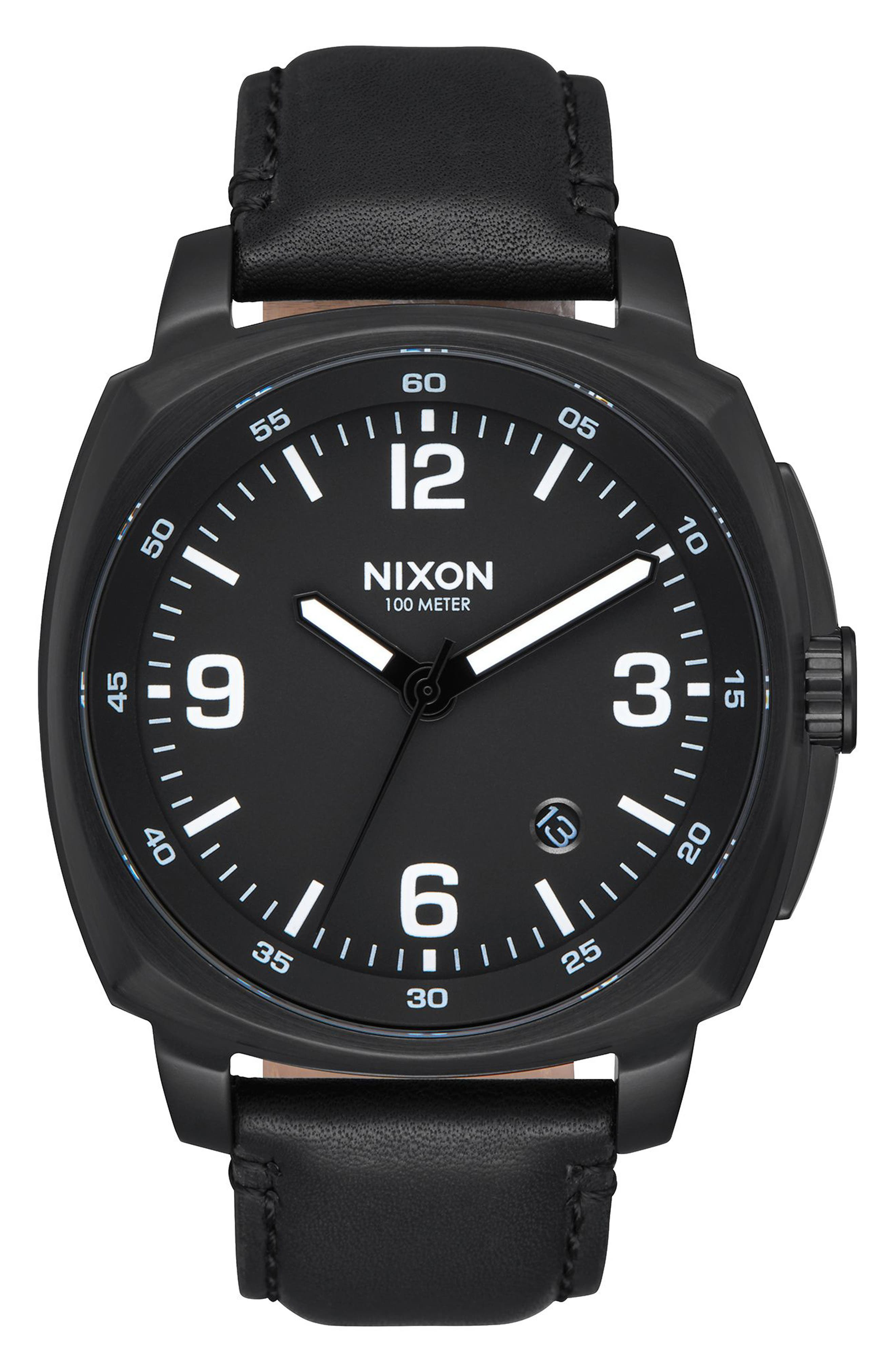 Charger Leather Strap Watch, 42mm,                         Main,                         color, Black