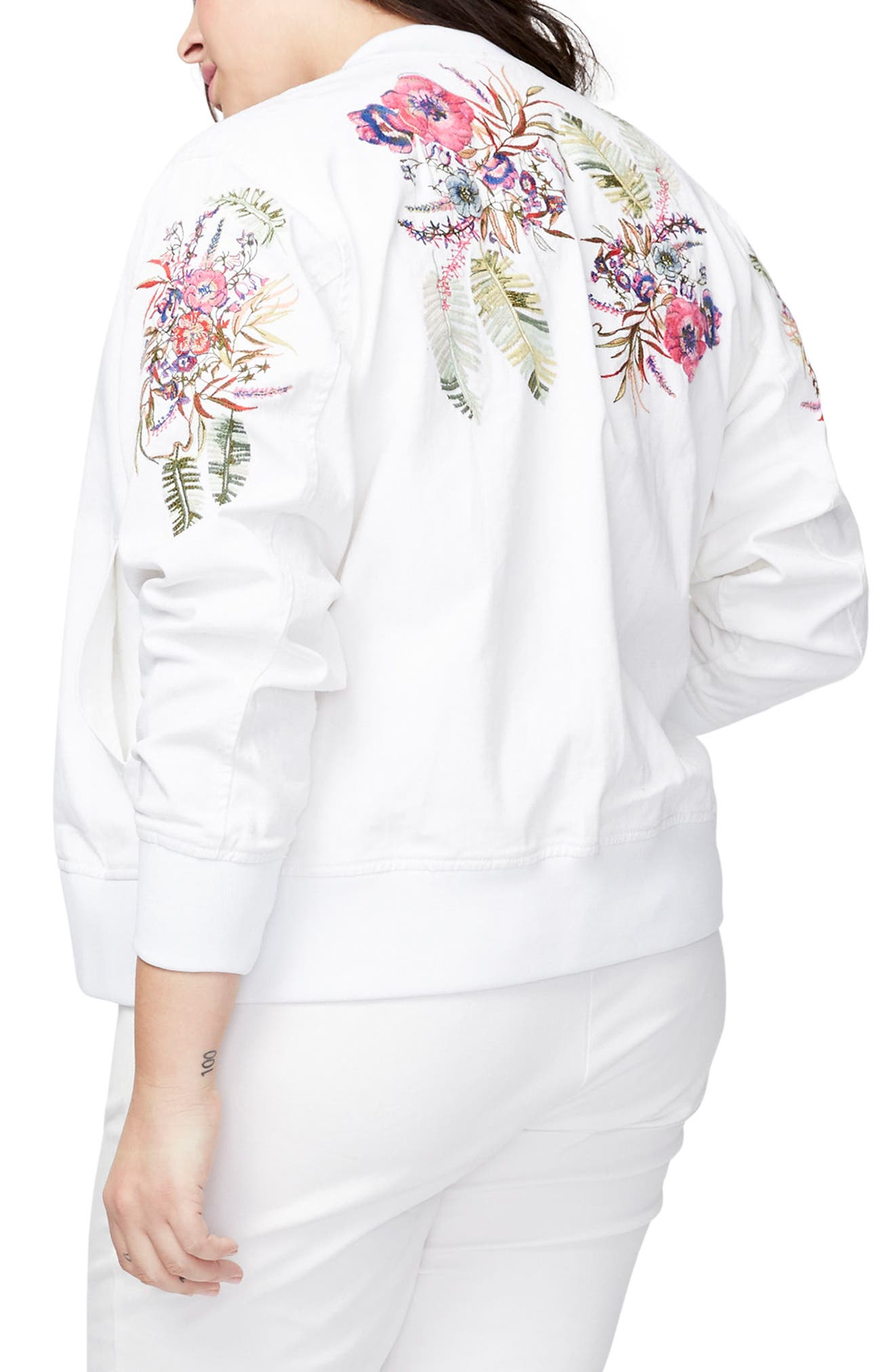 Alternate Image 1 Selected - RACHEL Rachel Roy Embroidered Bomber Jacket (Plus Size)