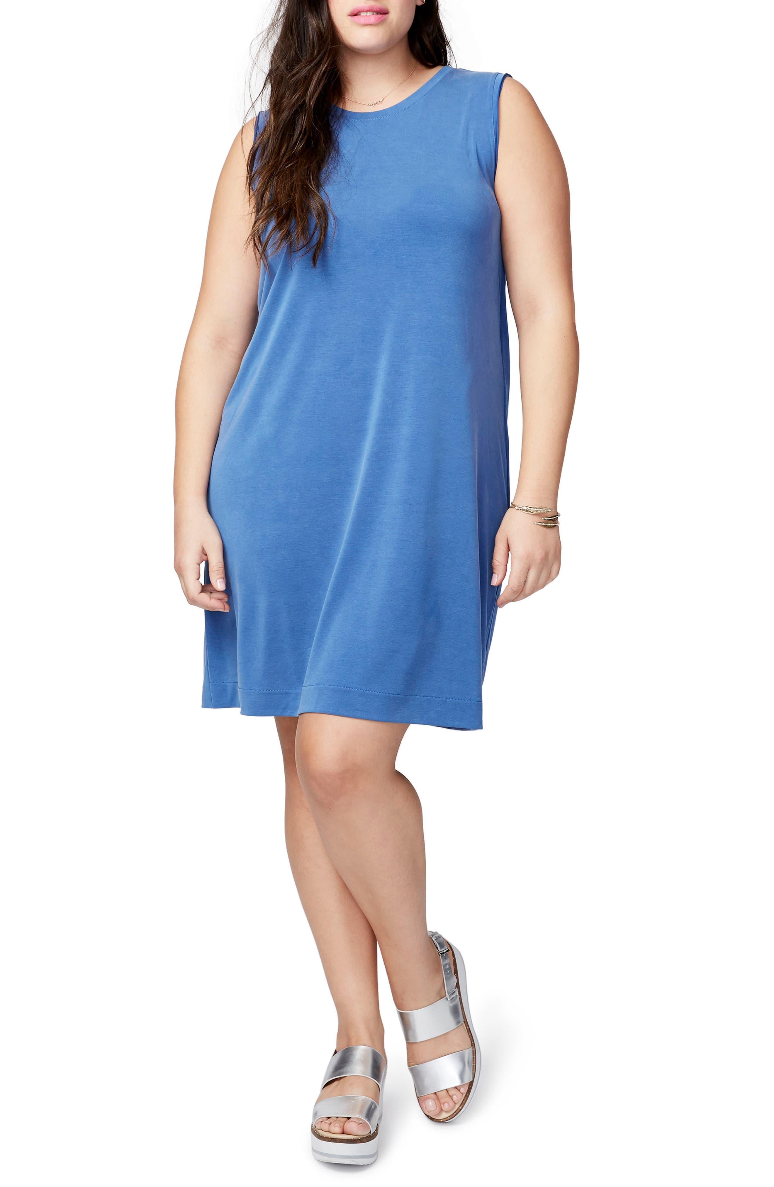 Draped Jersey Crossback Dress,                         Main,                         color, Chambray