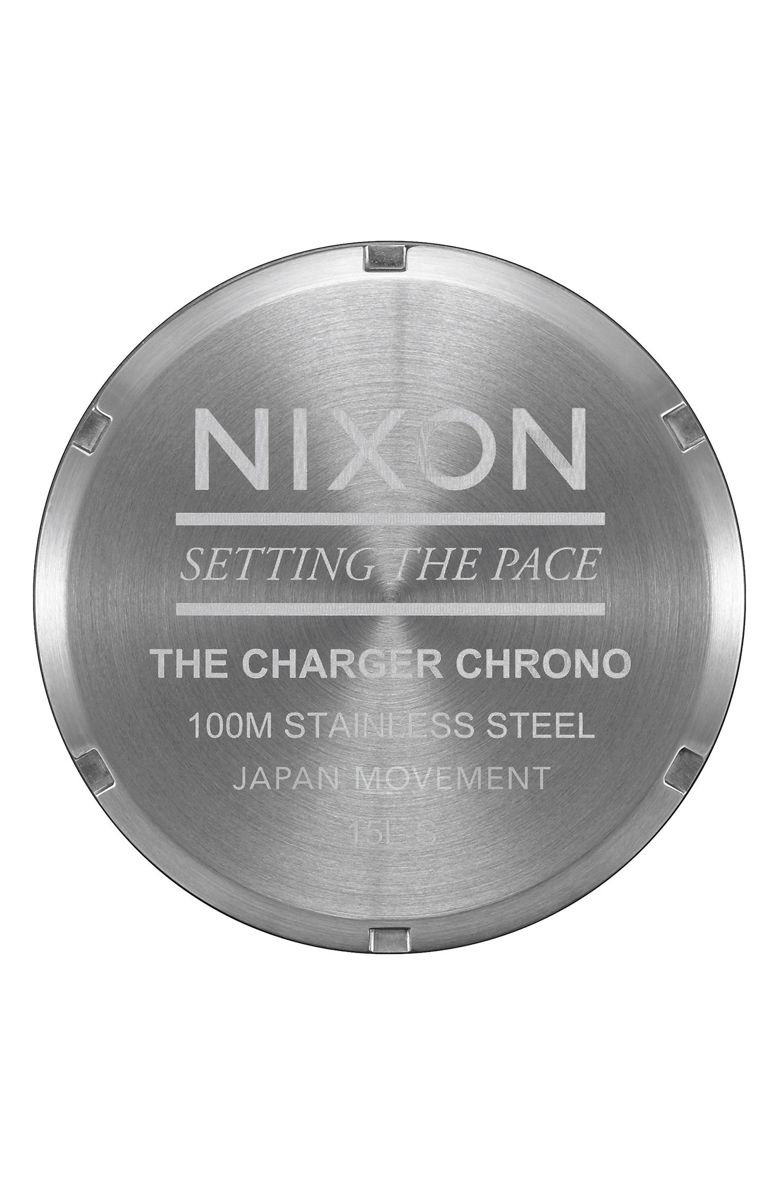 Alternate Image 3  - Nixon Charger Chronograph Leather Strap Watch, 42mm