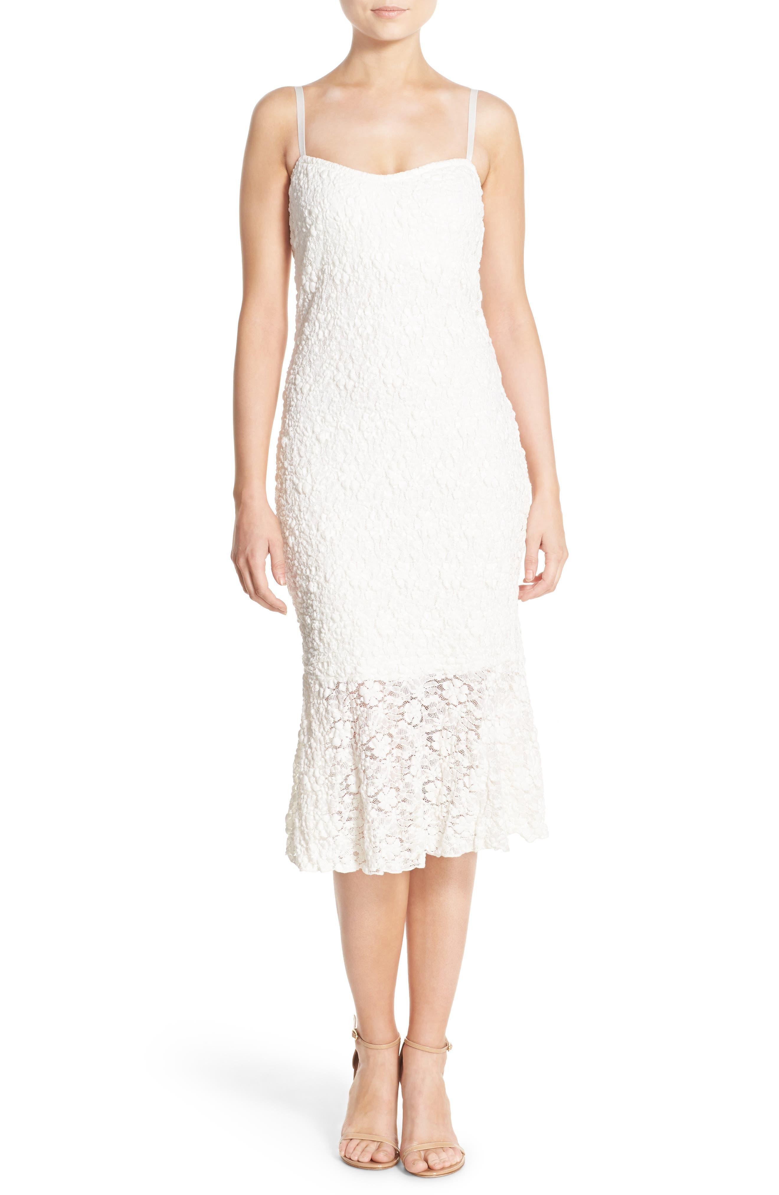 Lace Midi Dress,                         Main,                         color, Summer White