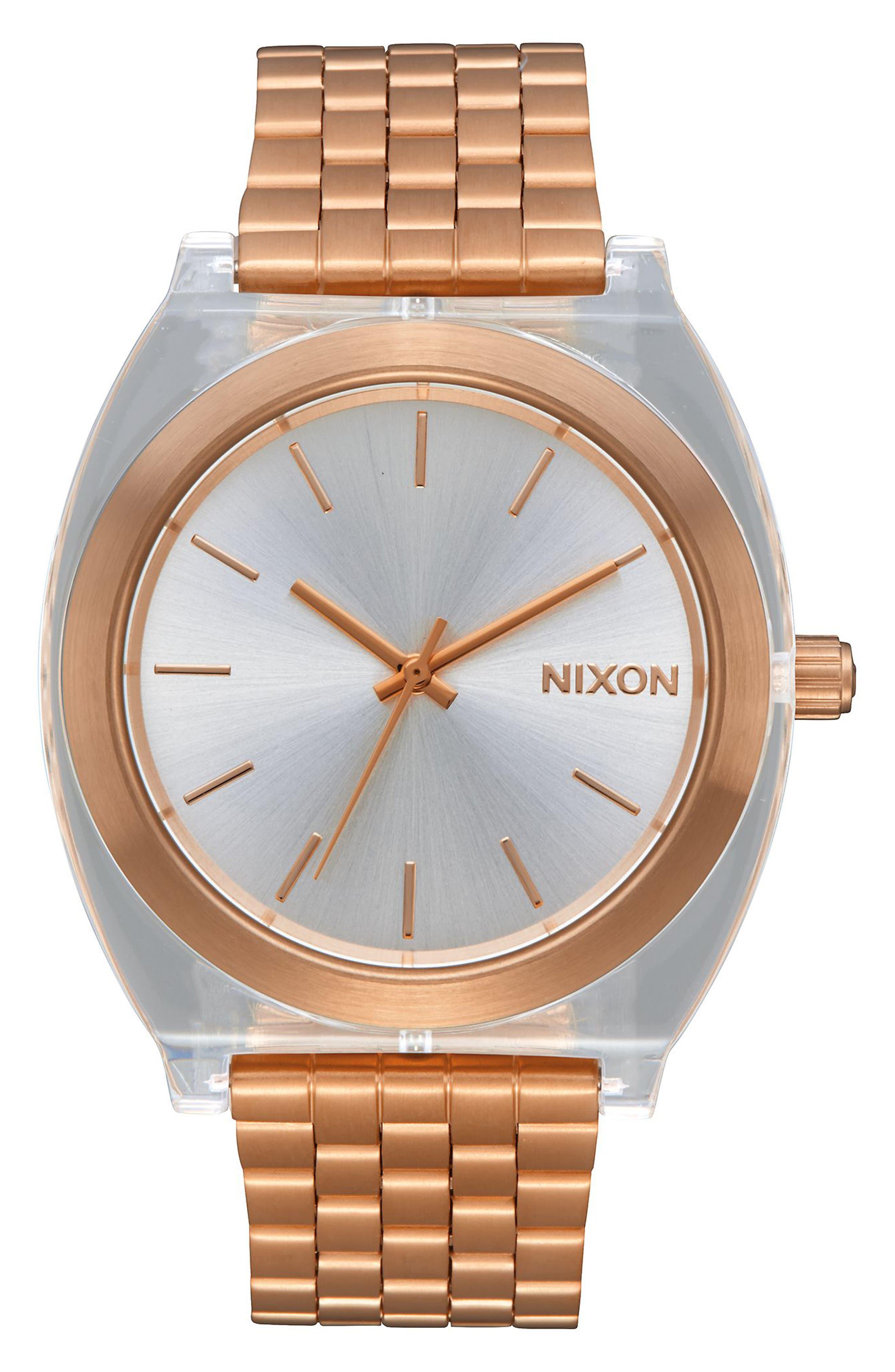 Time Teller Acetate Bracelet Watch, 40mm,                         Main,                         color, Rose Gold / Clear