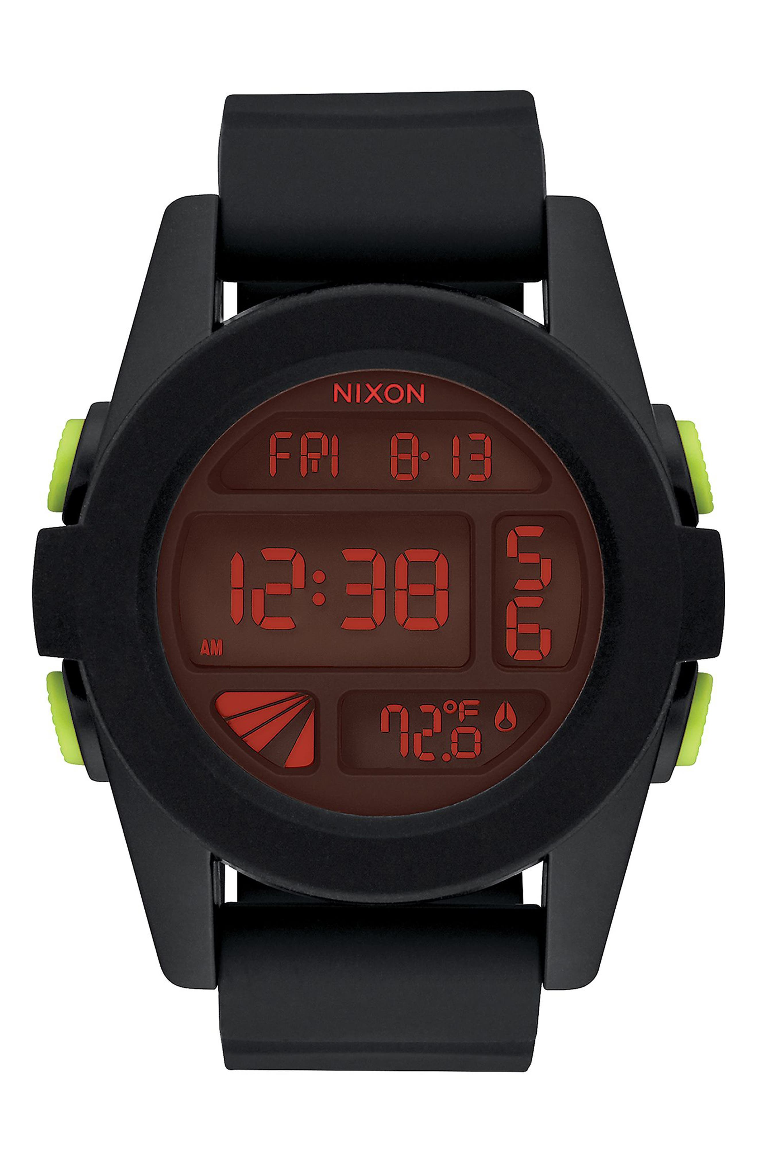 The Unit Digital Silicone Strap Watch, 44mm,                             Main thumbnail 1, color,                             Black/ Red