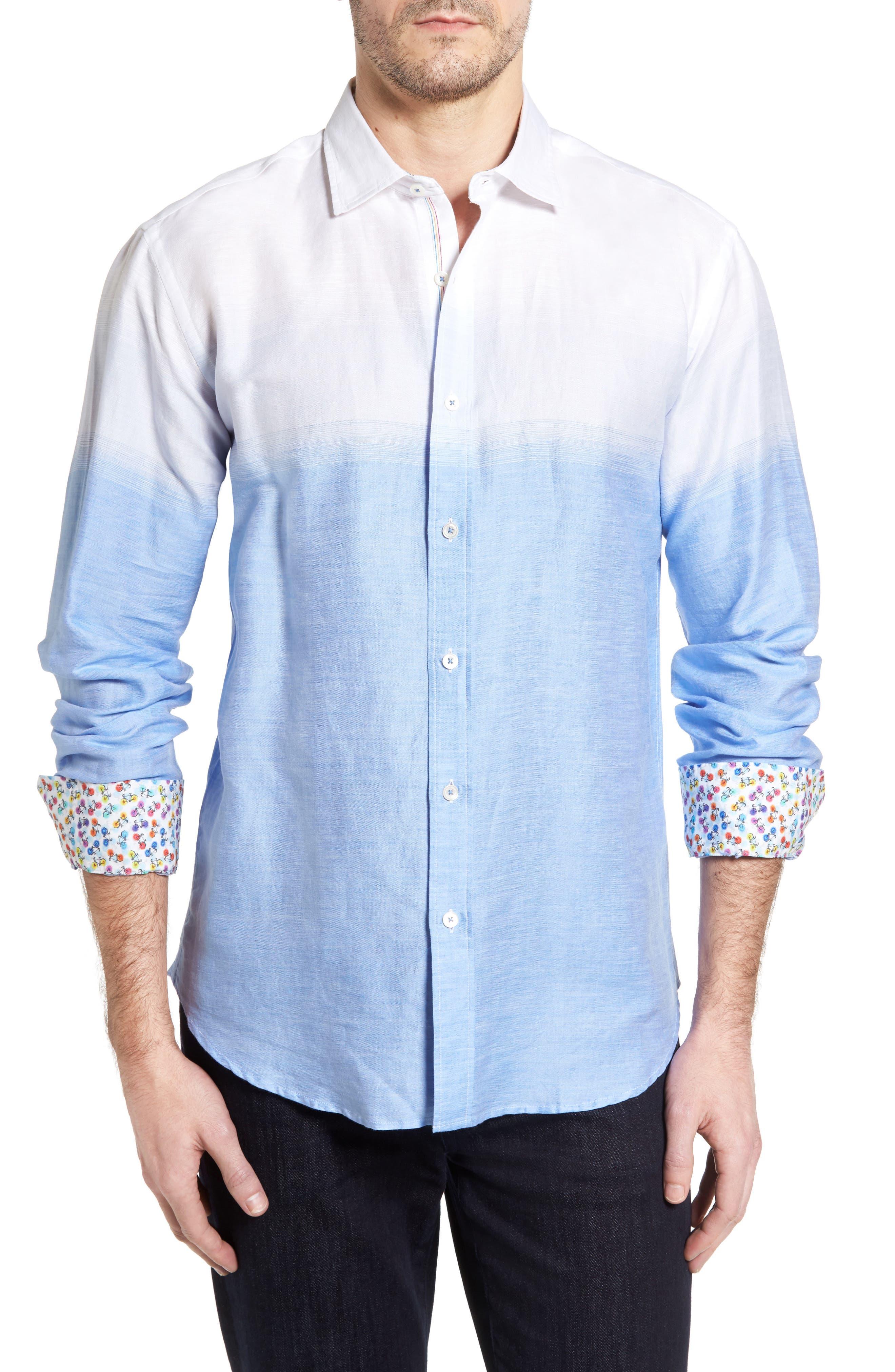 BUGATCHI Shaped Fit Ombré Sport Shirt