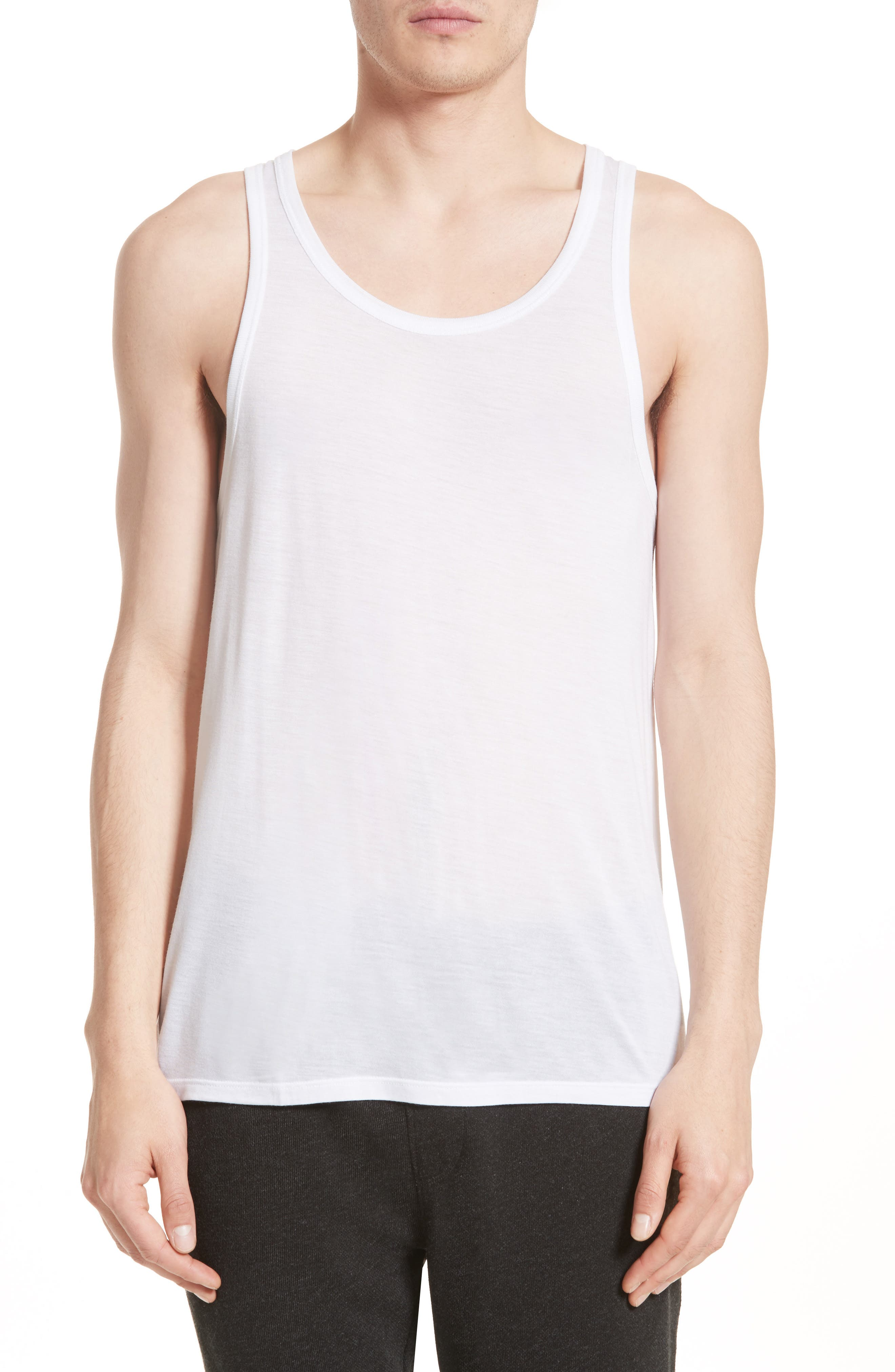 Lightweight Jersey Tank Top,                         Main,                         color, White
