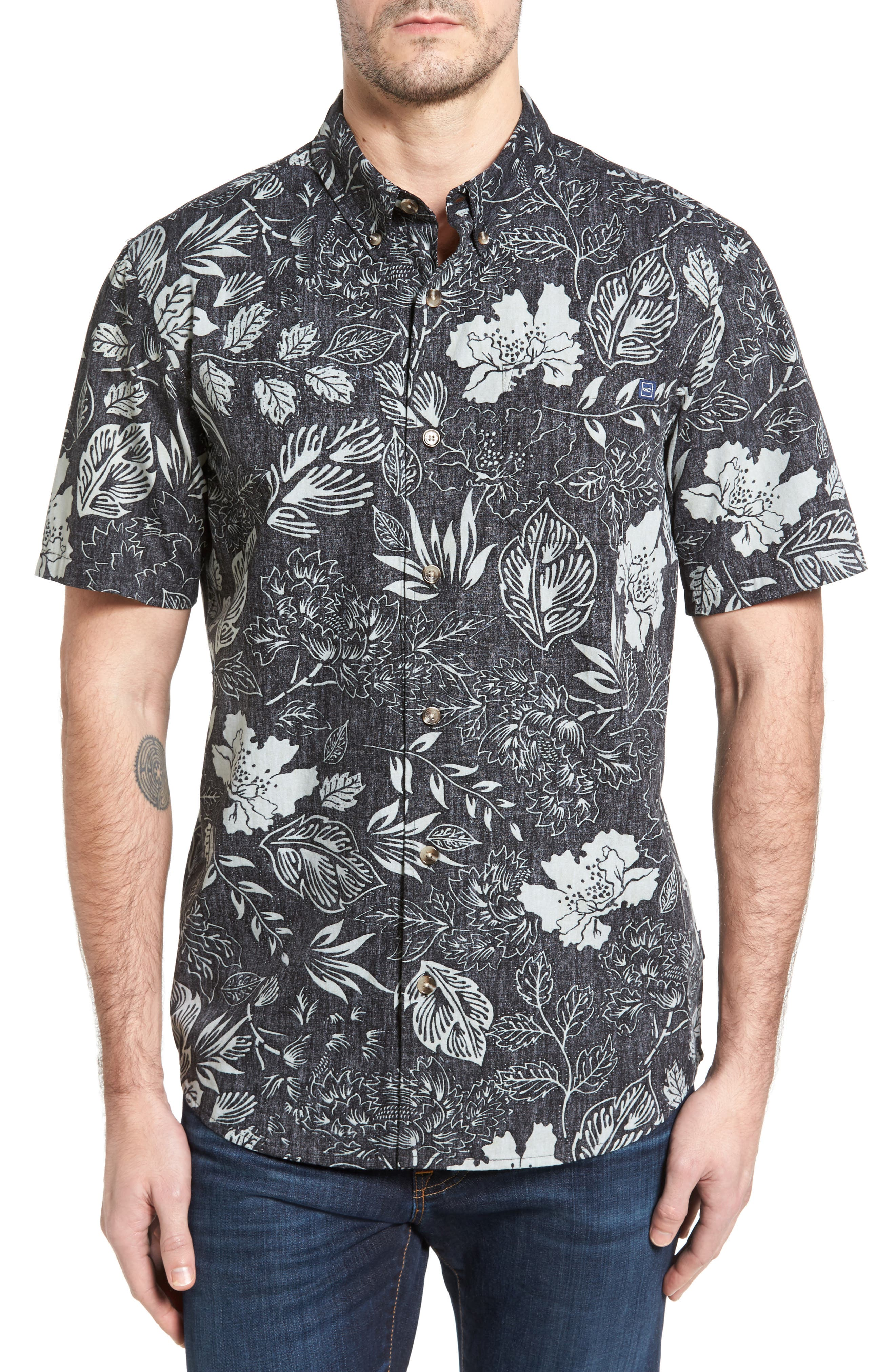 Samoa Print Sport Shirt,                         Main,                         color, Black