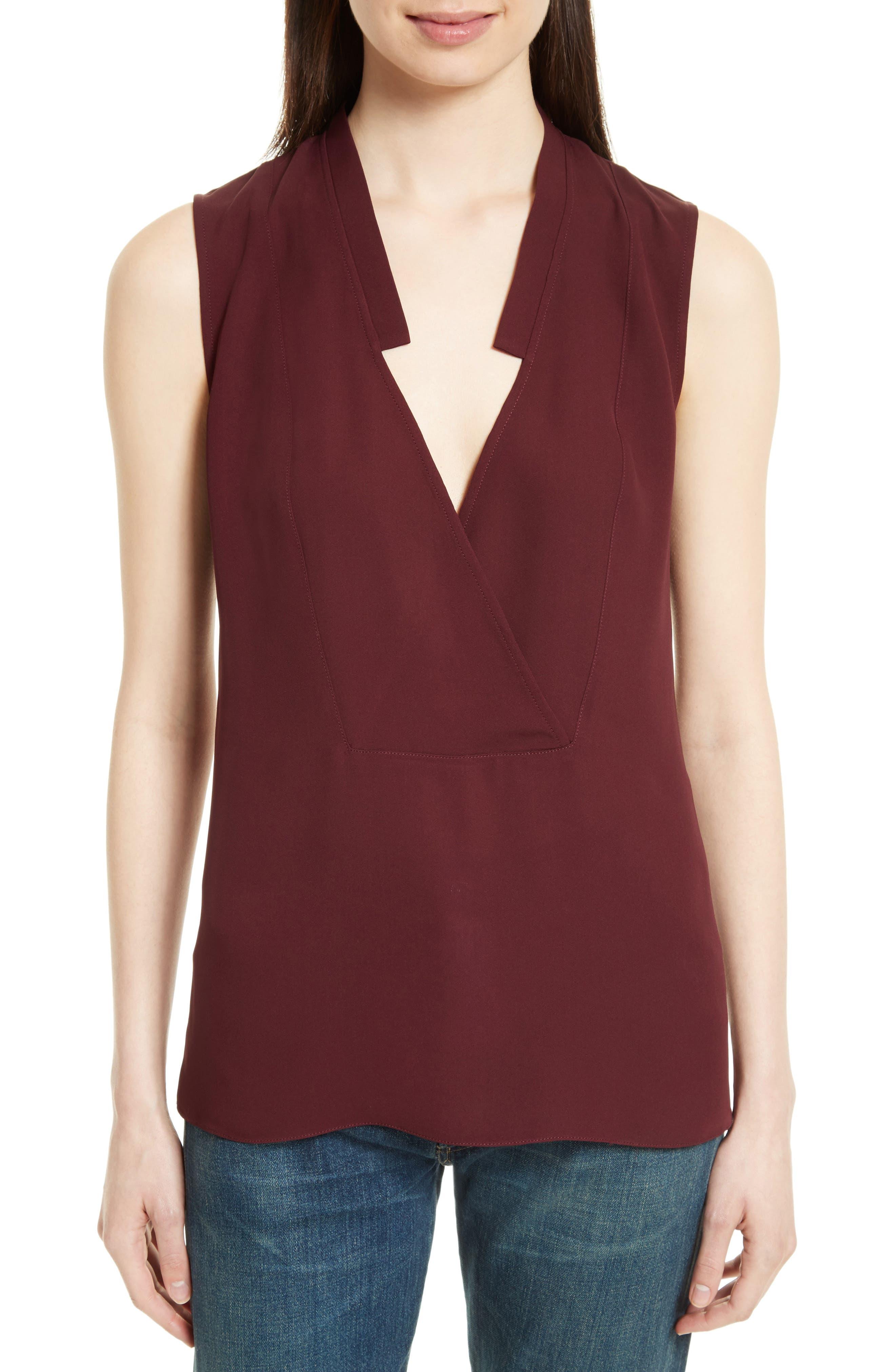 THEORY Classic Crossover Sleeveless Silk Top