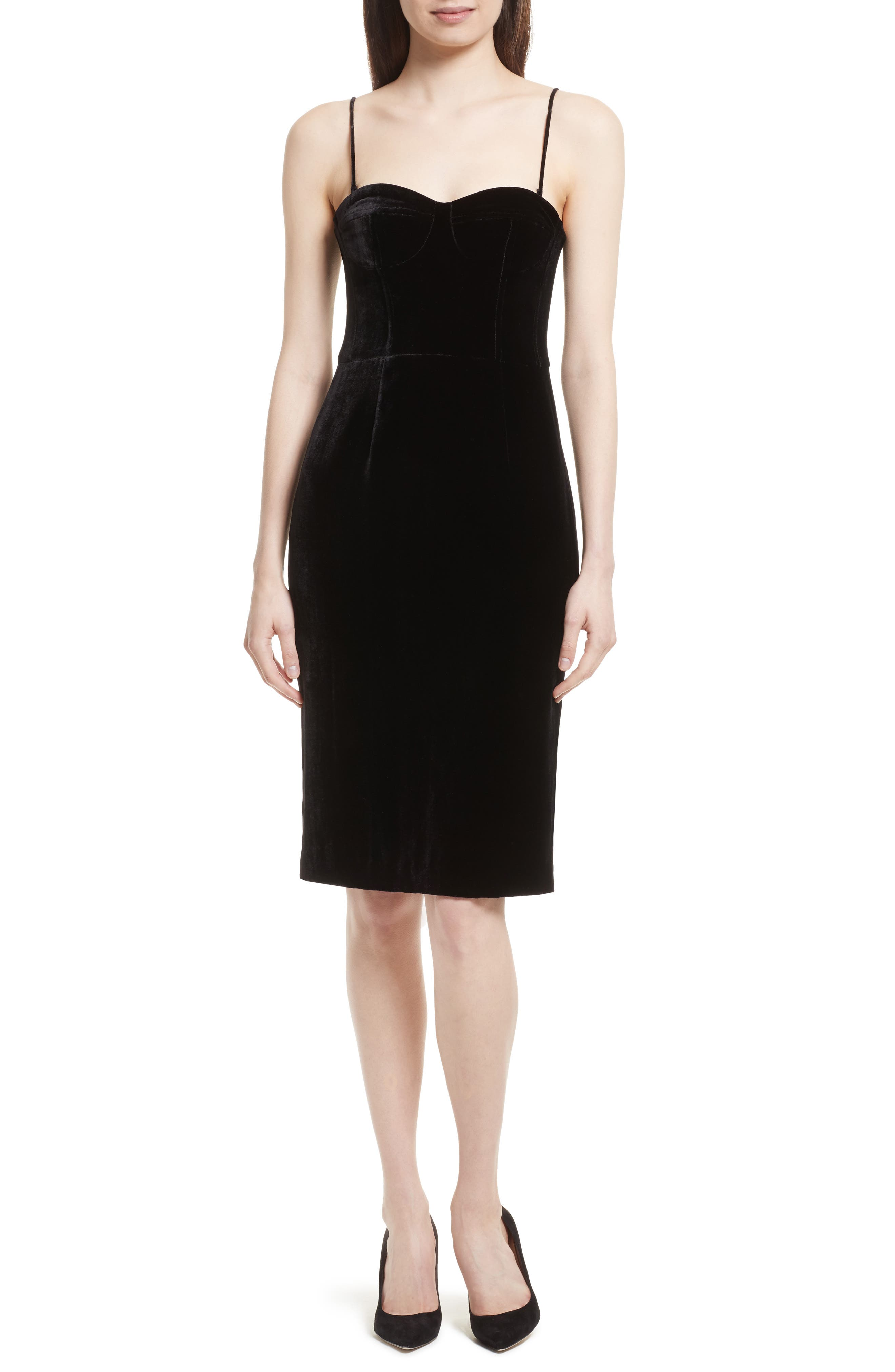 Luxe Velvet Corset Dress,                             Main thumbnail 1, color,                             Black