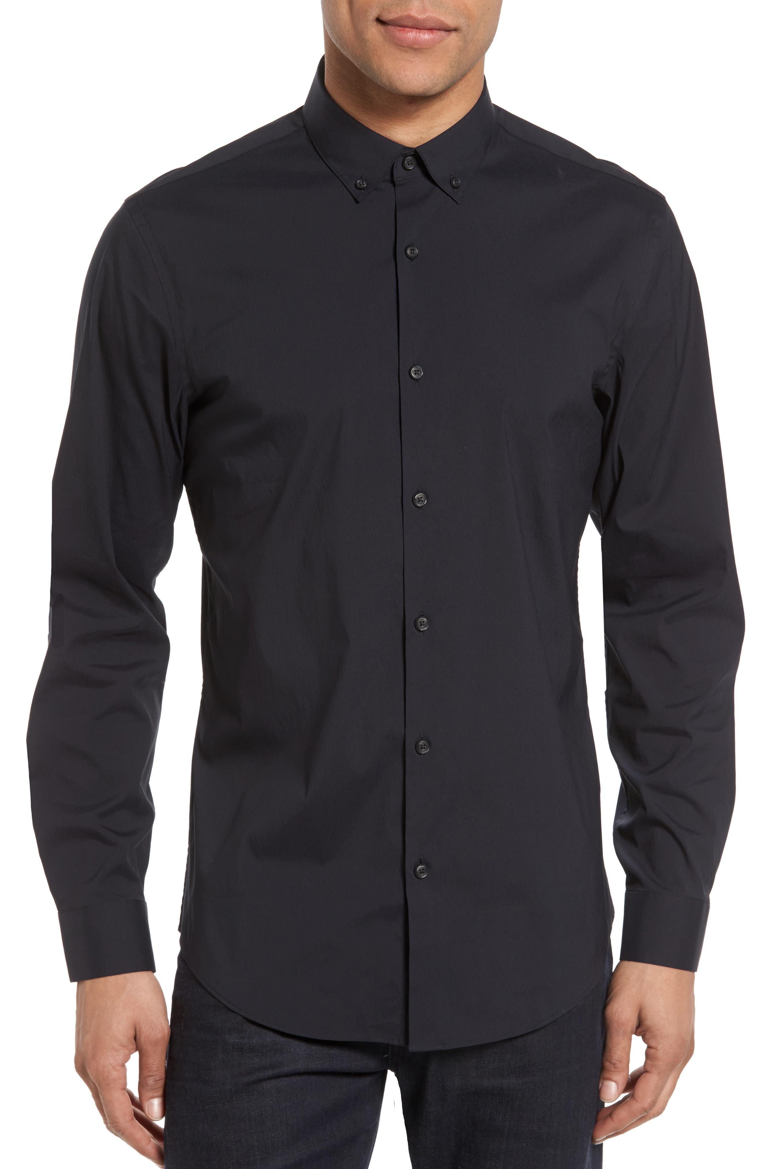 Trim Fit Stretch Woven Sport Shirt,                         Main,                         color, Black Caviar