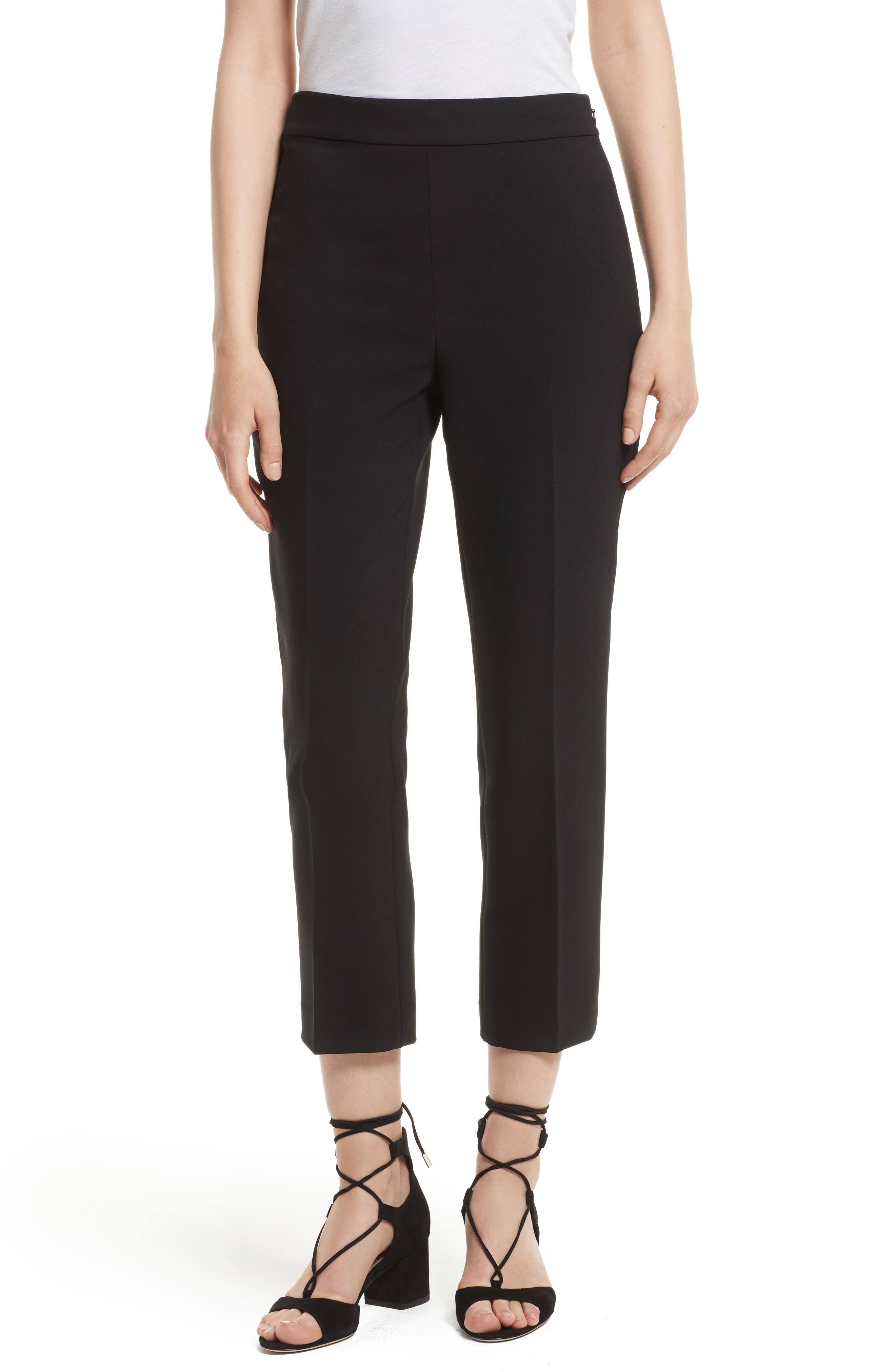 polished cigarette pants,                         Main,                         color, Black
