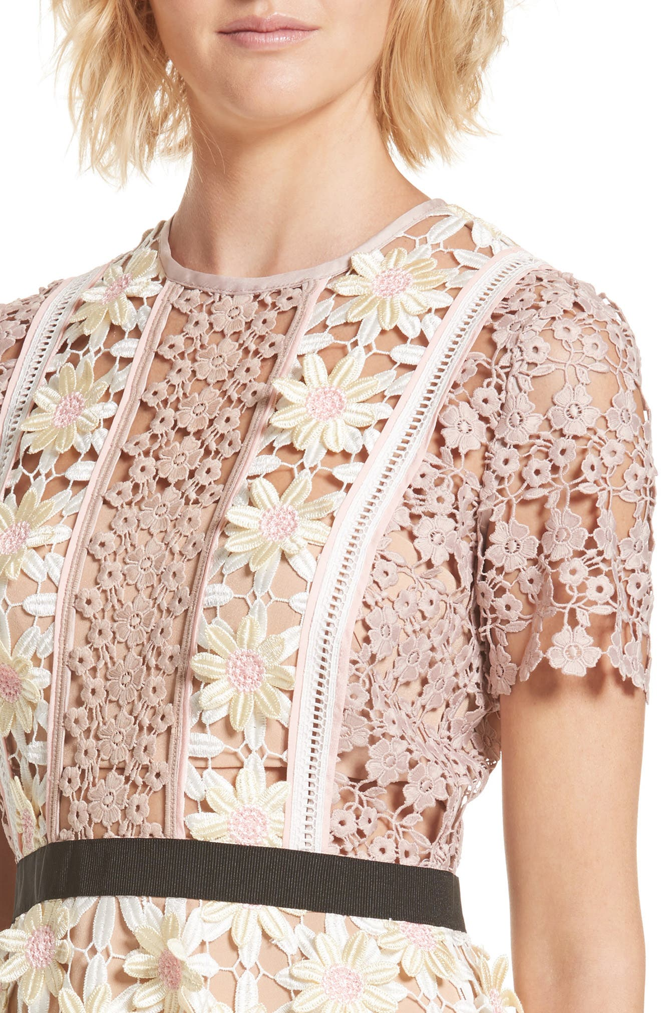 3D Floral Lace Peplum Dress,                             Alternate thumbnail 4, color,                             Multi