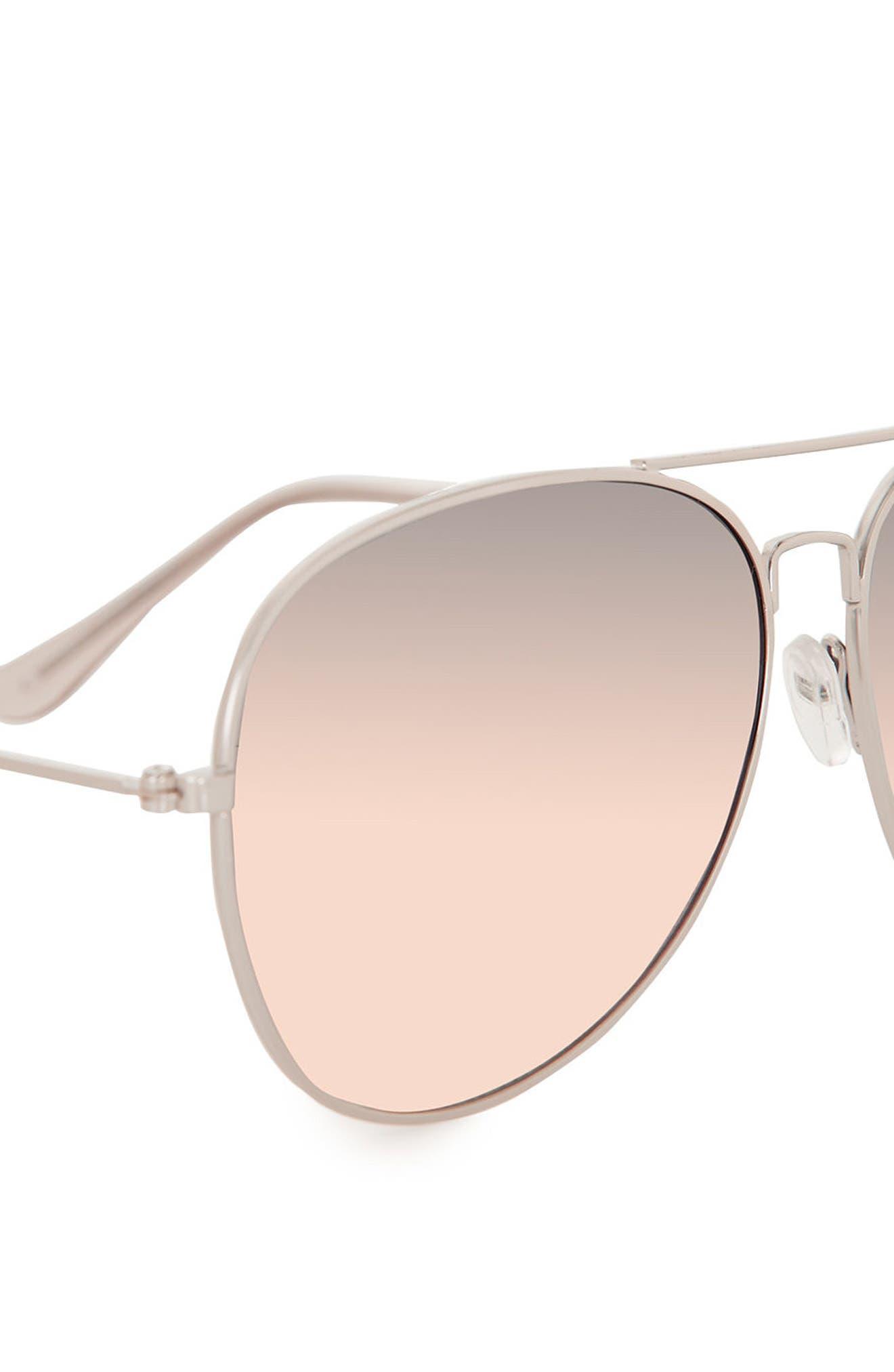 58mm Mirrored Aviator Sunglasses,                             Alternate thumbnail 3, color,                             Metallic Silver