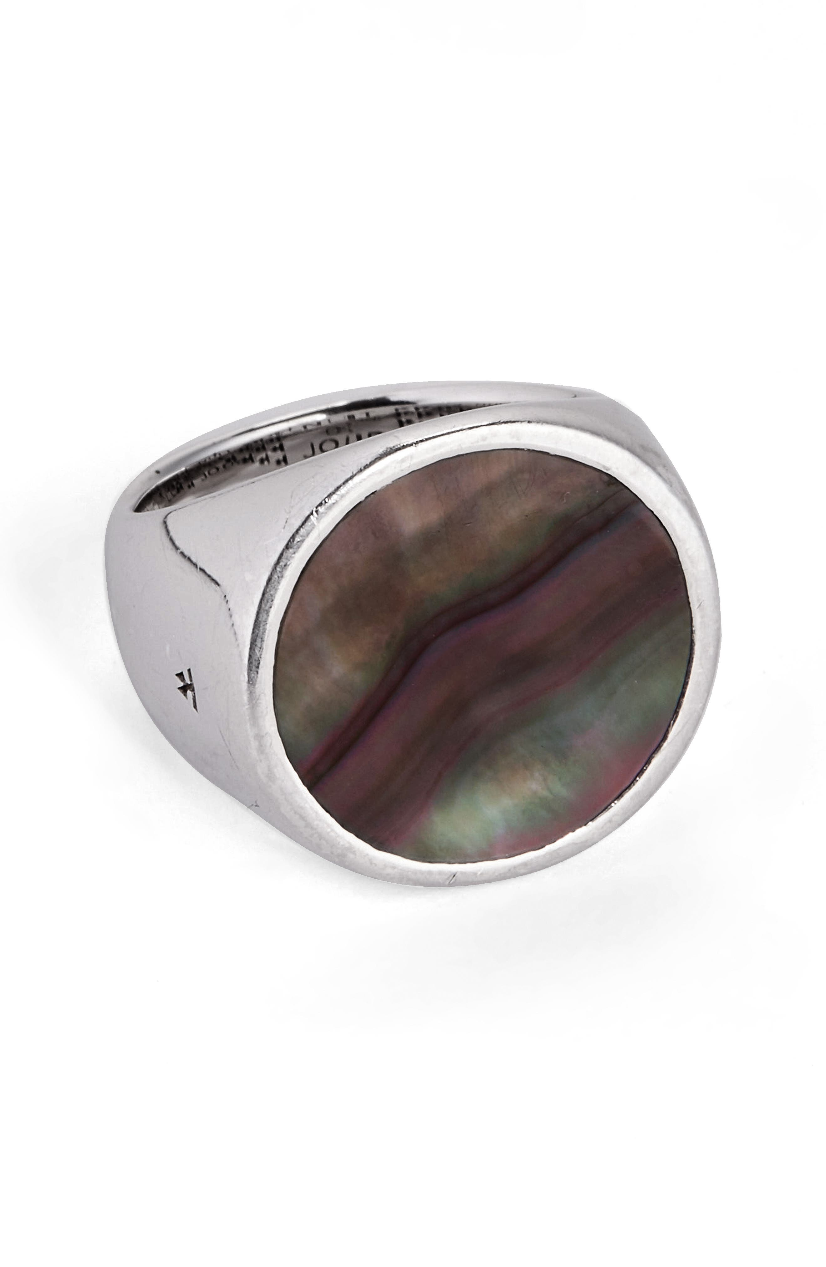 Alternate Image 1 Selected - Tom Wood Flush Black Mother of Pearl Signet Ring (Nordstrom Exclusive)
