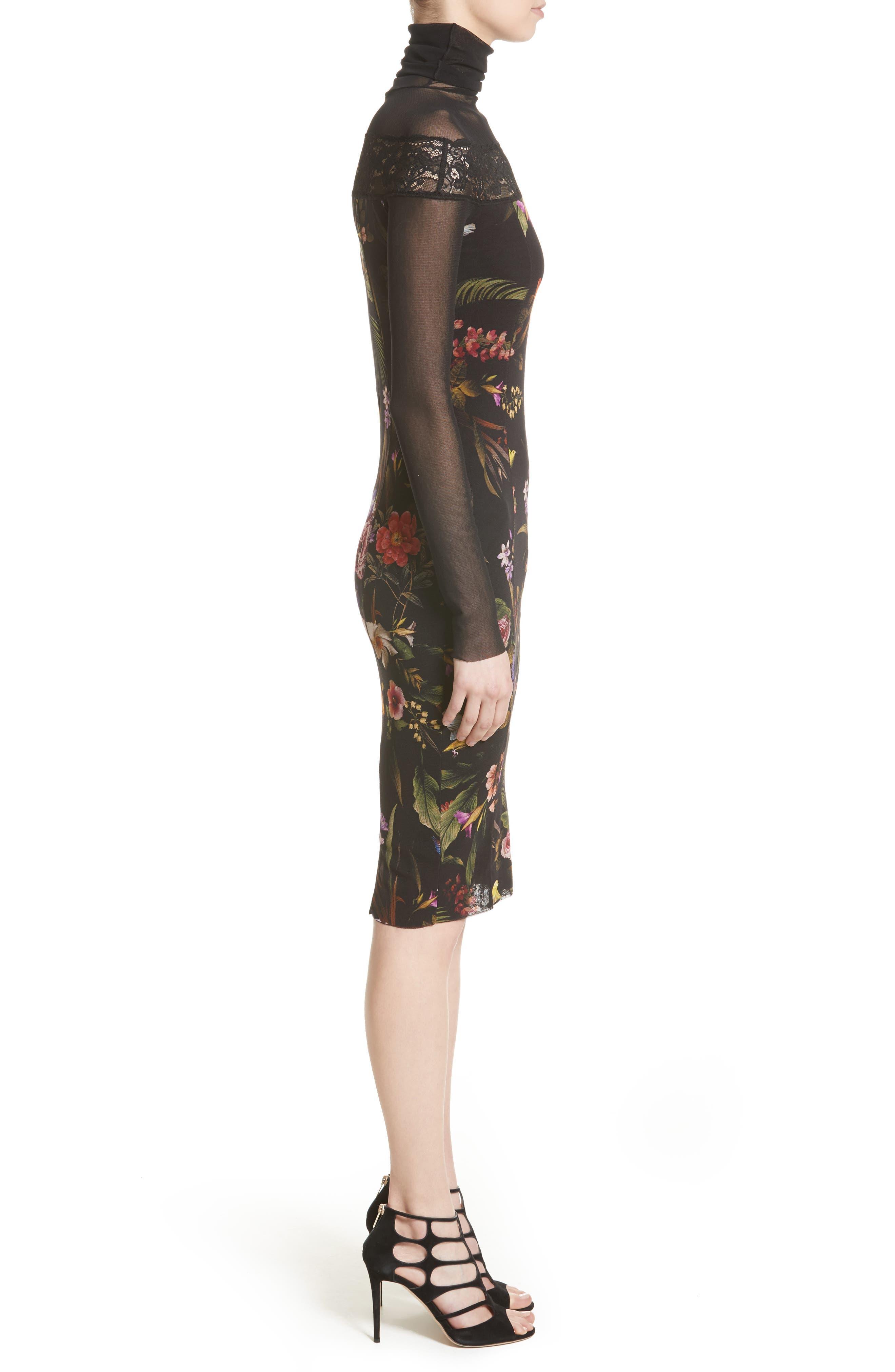 Tulle Turtleneck Sheath Dress,                             Alternate thumbnail 5, color,                             Nero