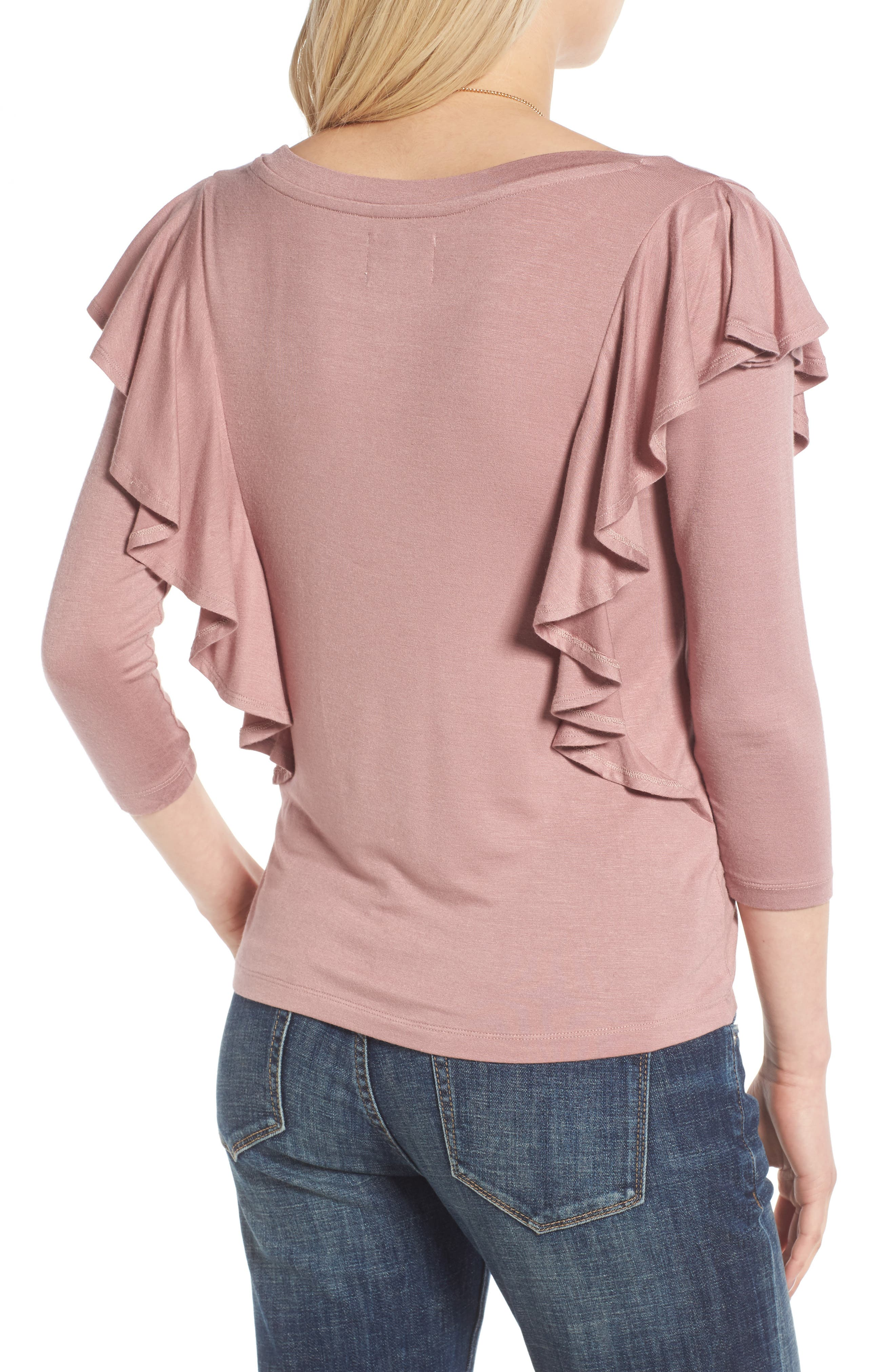 Alternate Image 2  - Madison & Berkeley Ruffle Knit Top
