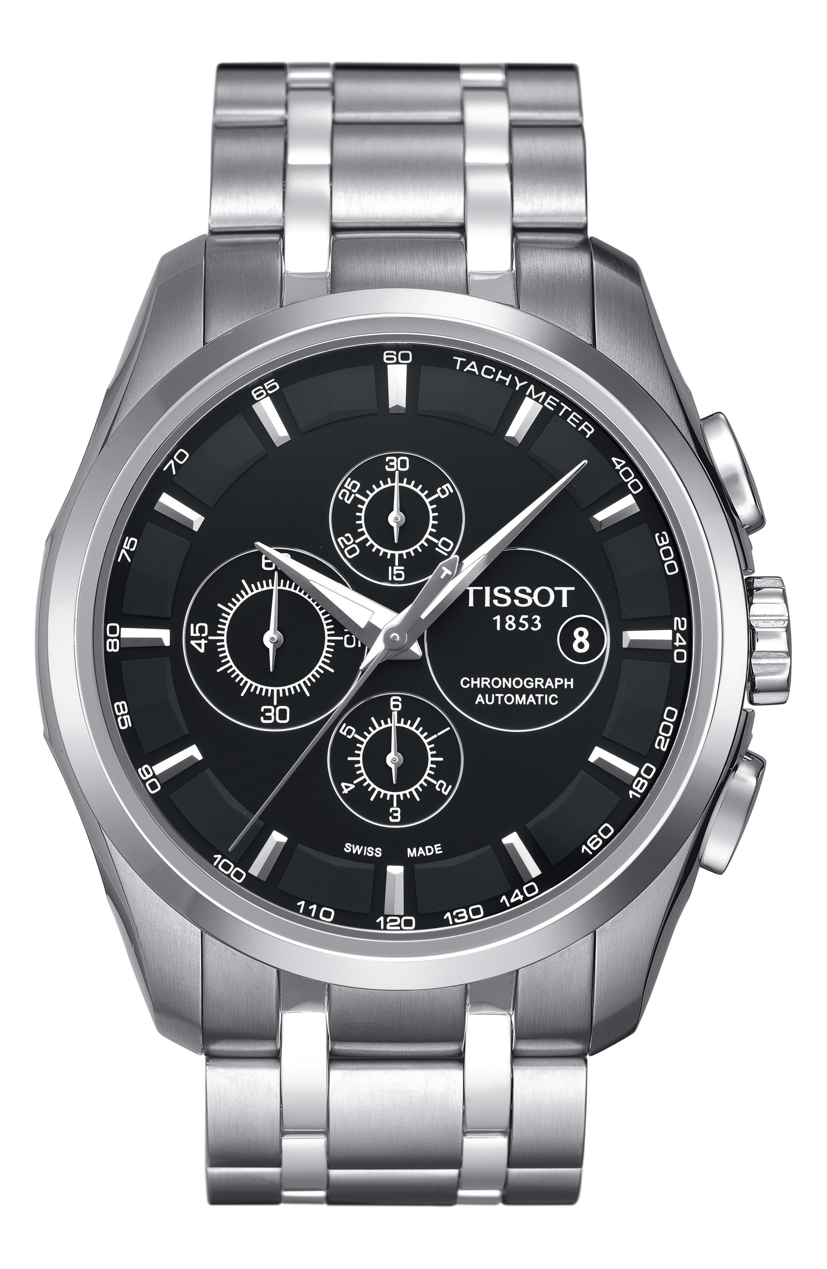 Couturier Automatic Chronograph Bracelet Watch, 43mm,                         Main,                         color, Silver/ Black/ Silver