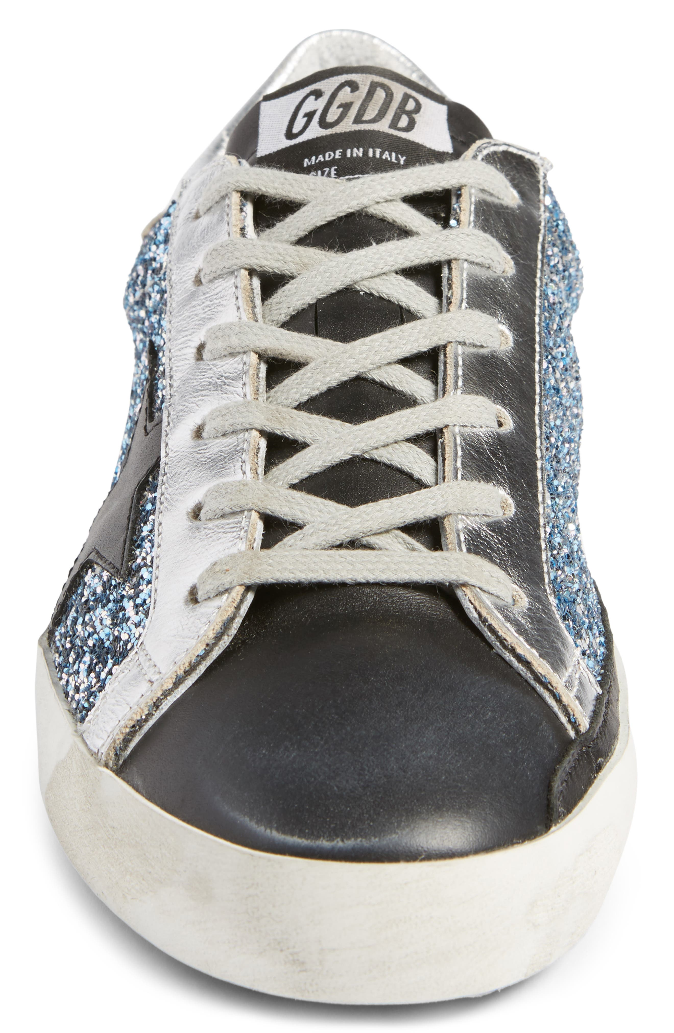 Superstar Glitter Sneaker,                             Alternate thumbnail 4, color,                             Blue Glitter